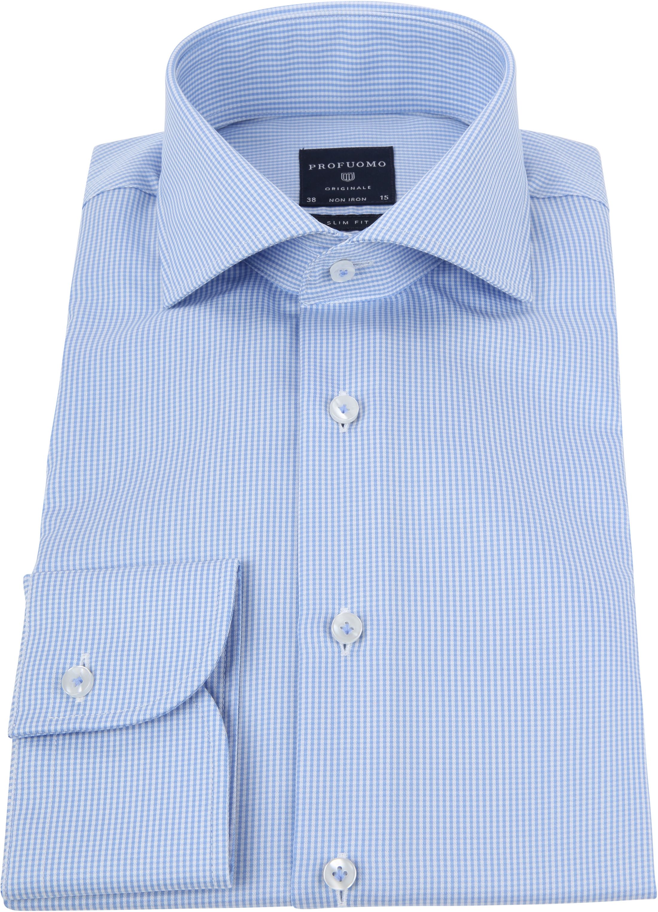 Profuomo Shirt Cutaway Blue Checks foto 2