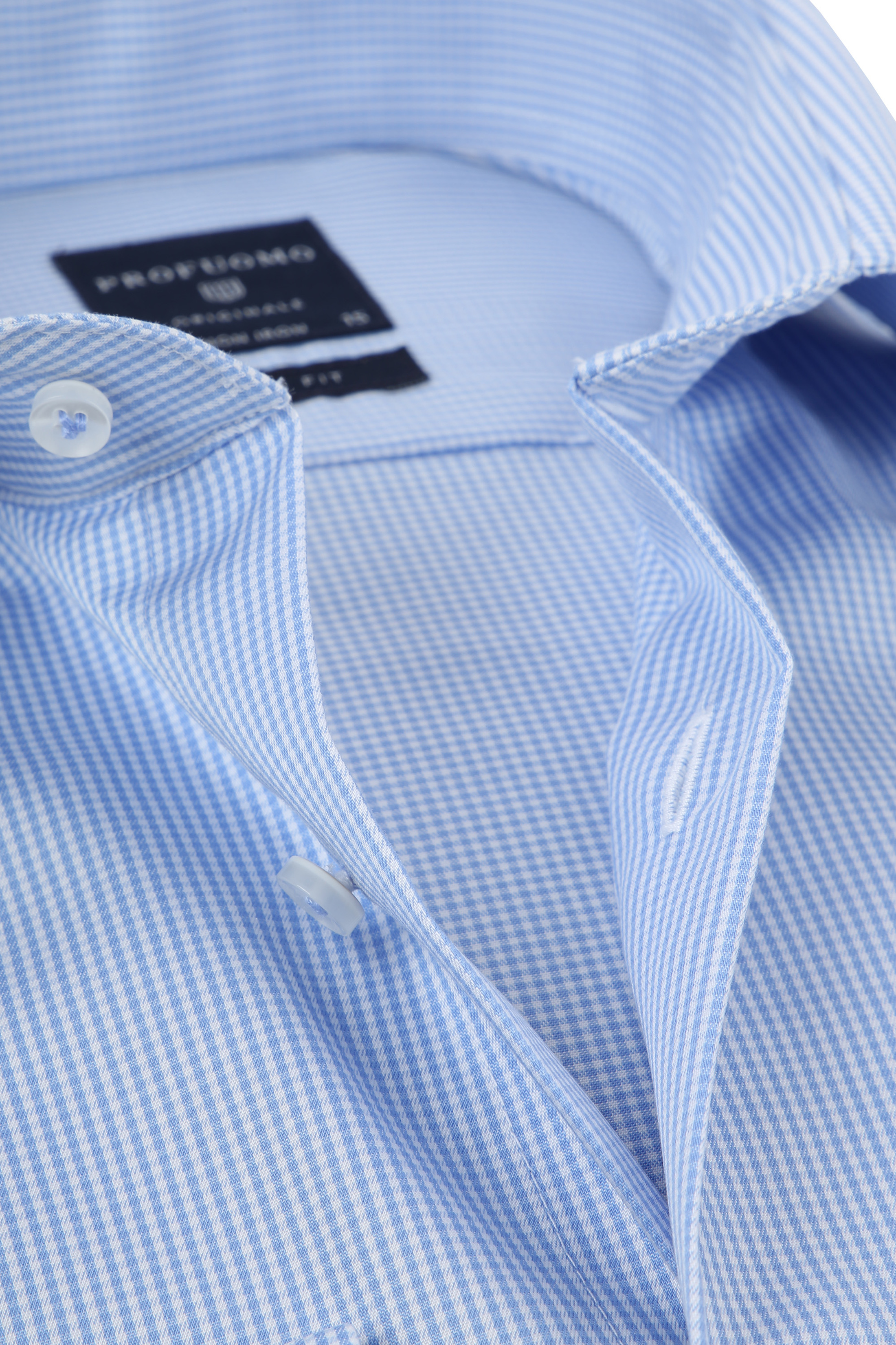 Profuomo Shirt Cutaway Blue Checks foto 1