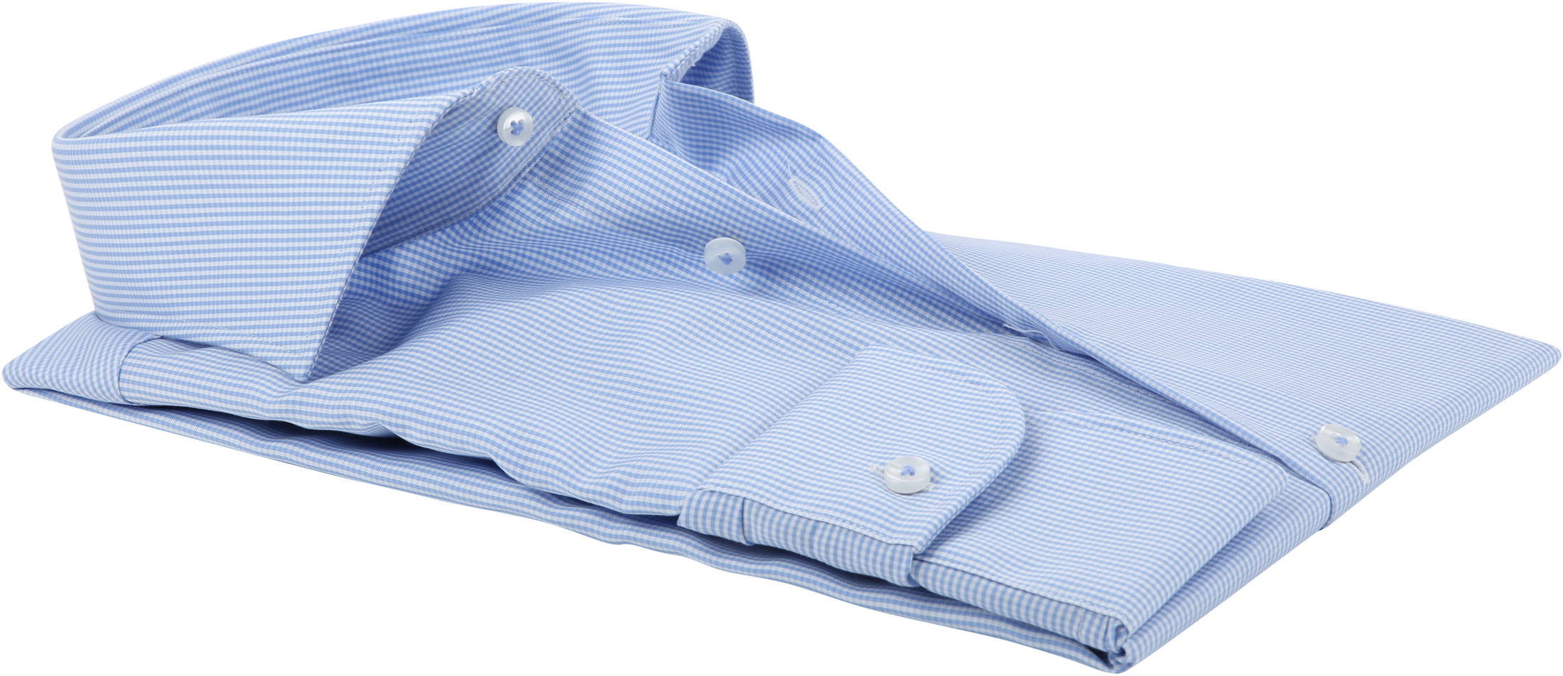 Profuomo Shirt Cutaway Blue Checks foto 3