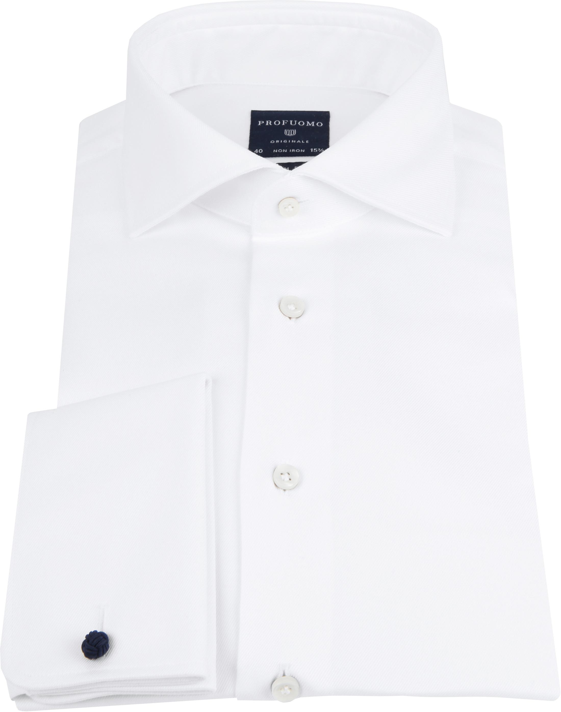 Profuomo Shirt Cutaway Doppel Manschette Weiß foto 2