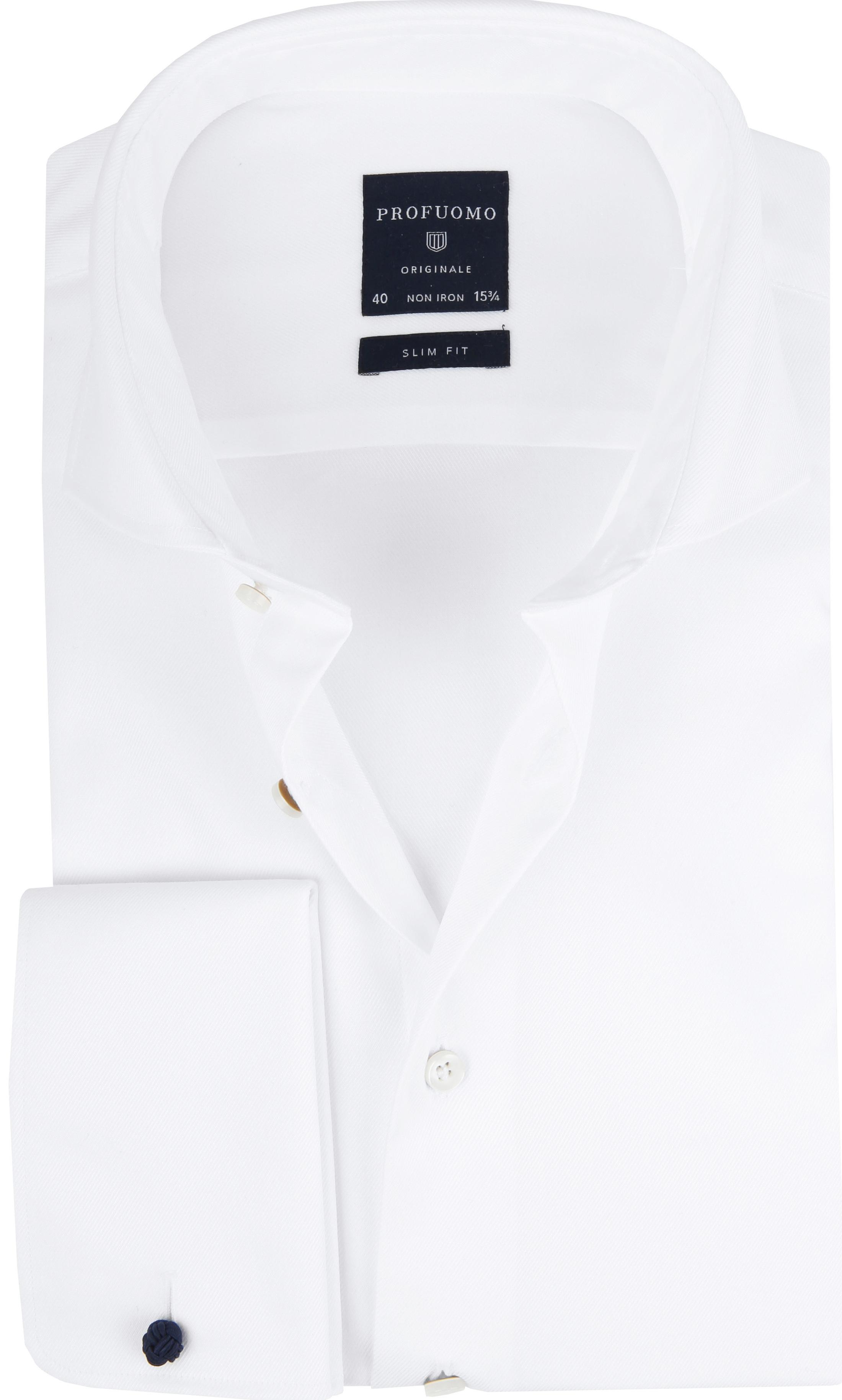 Profuomo Shirt Cutaway Doppel Manschette Weiß foto 0
