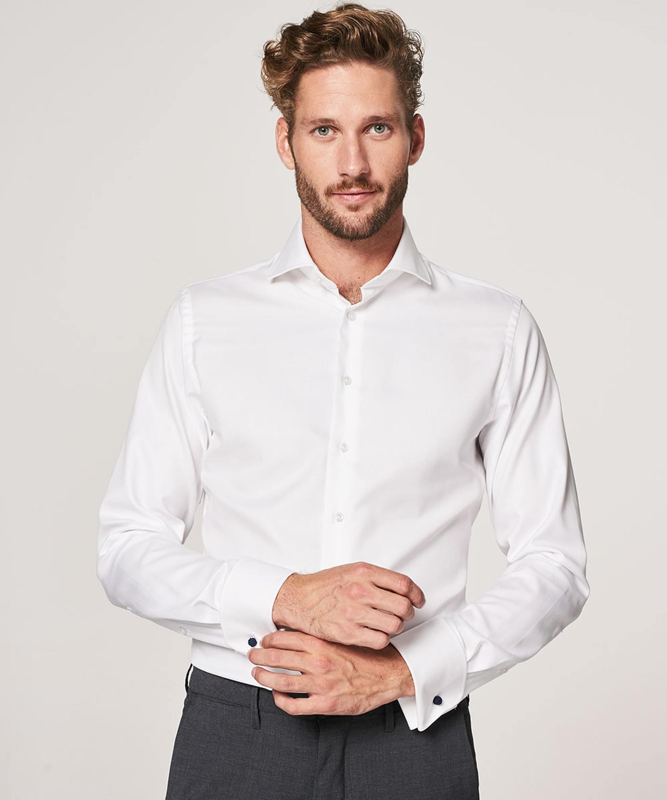 Profuomo Shirt Cutaway Doppel Manschette Weiß foto 4