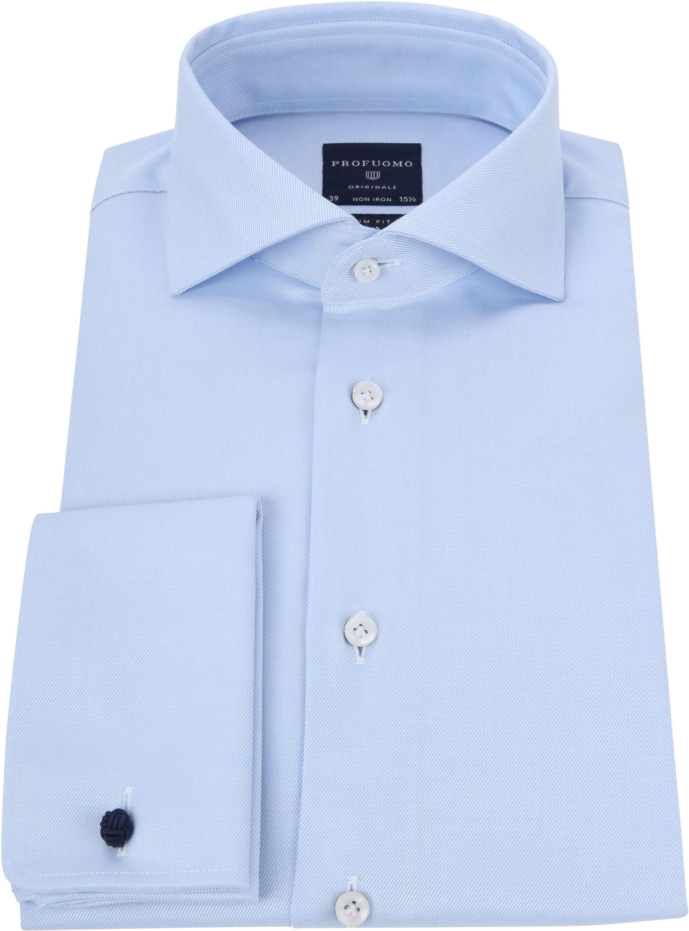 Profuomo Shirt Cutaway Double Cuff Blue foto 2