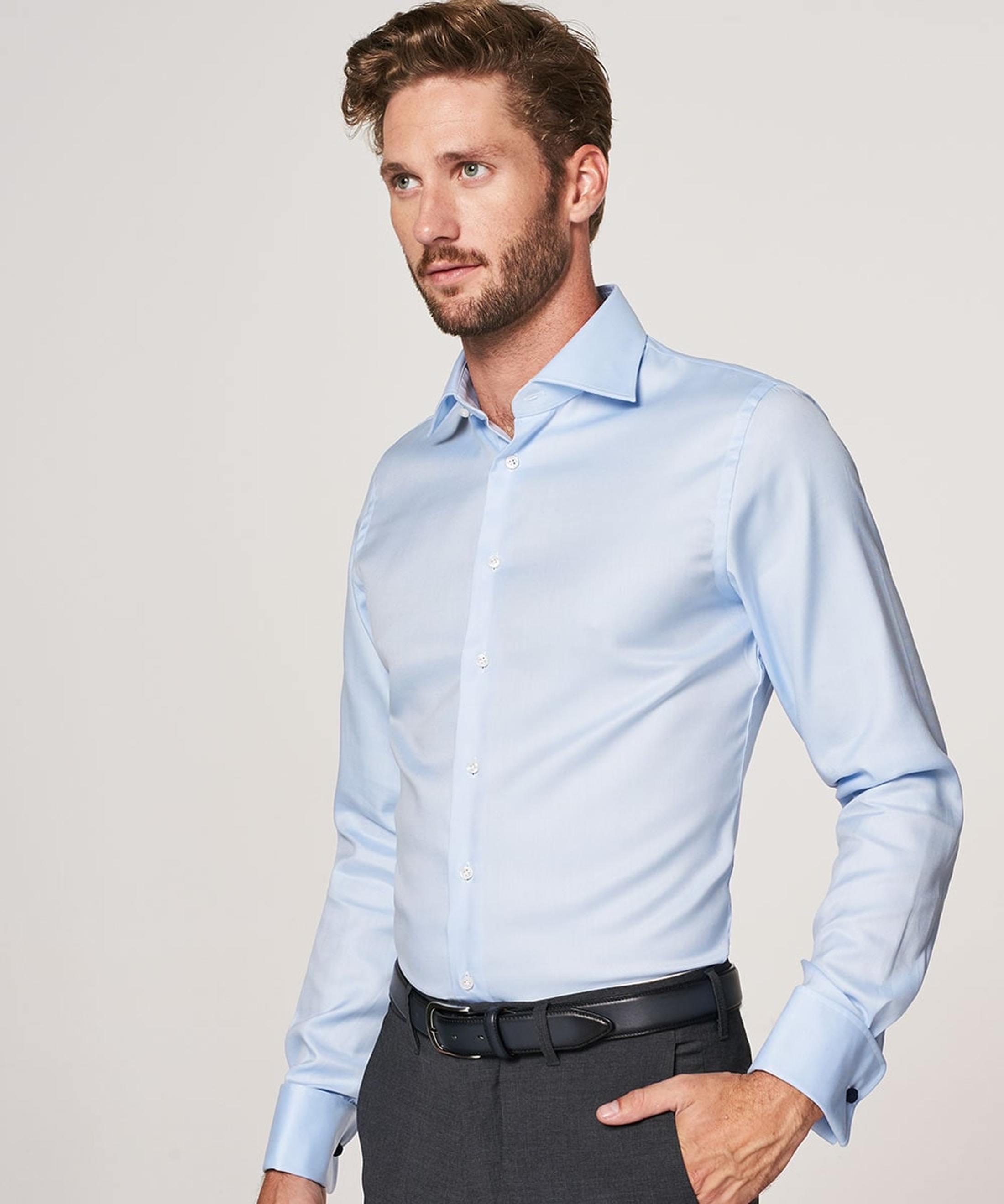 Profuomo Shirt Cutaway Double Cuff Blue foto 4