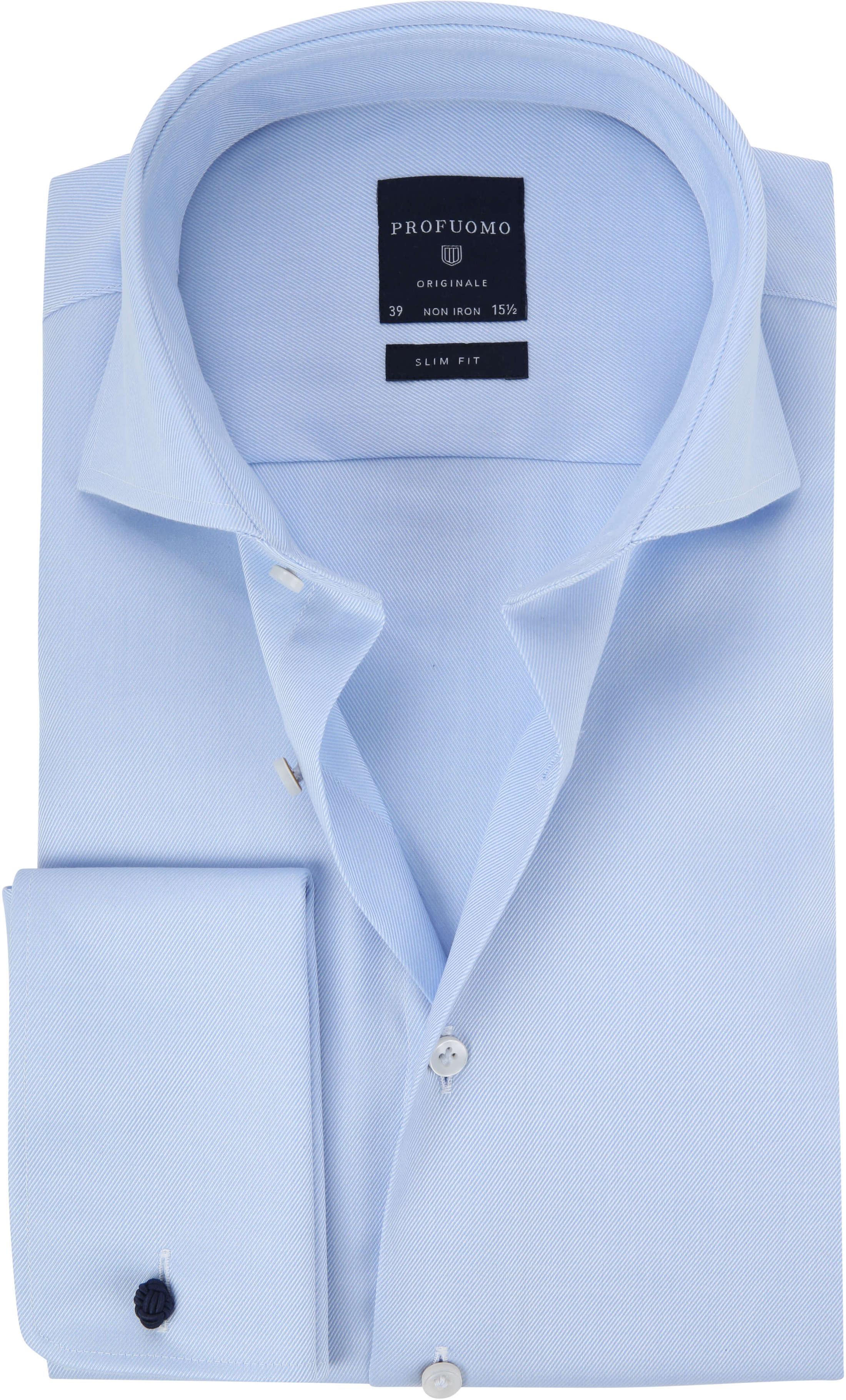 Profuomo Shirt Cutaway Double Cuff Blue foto 0