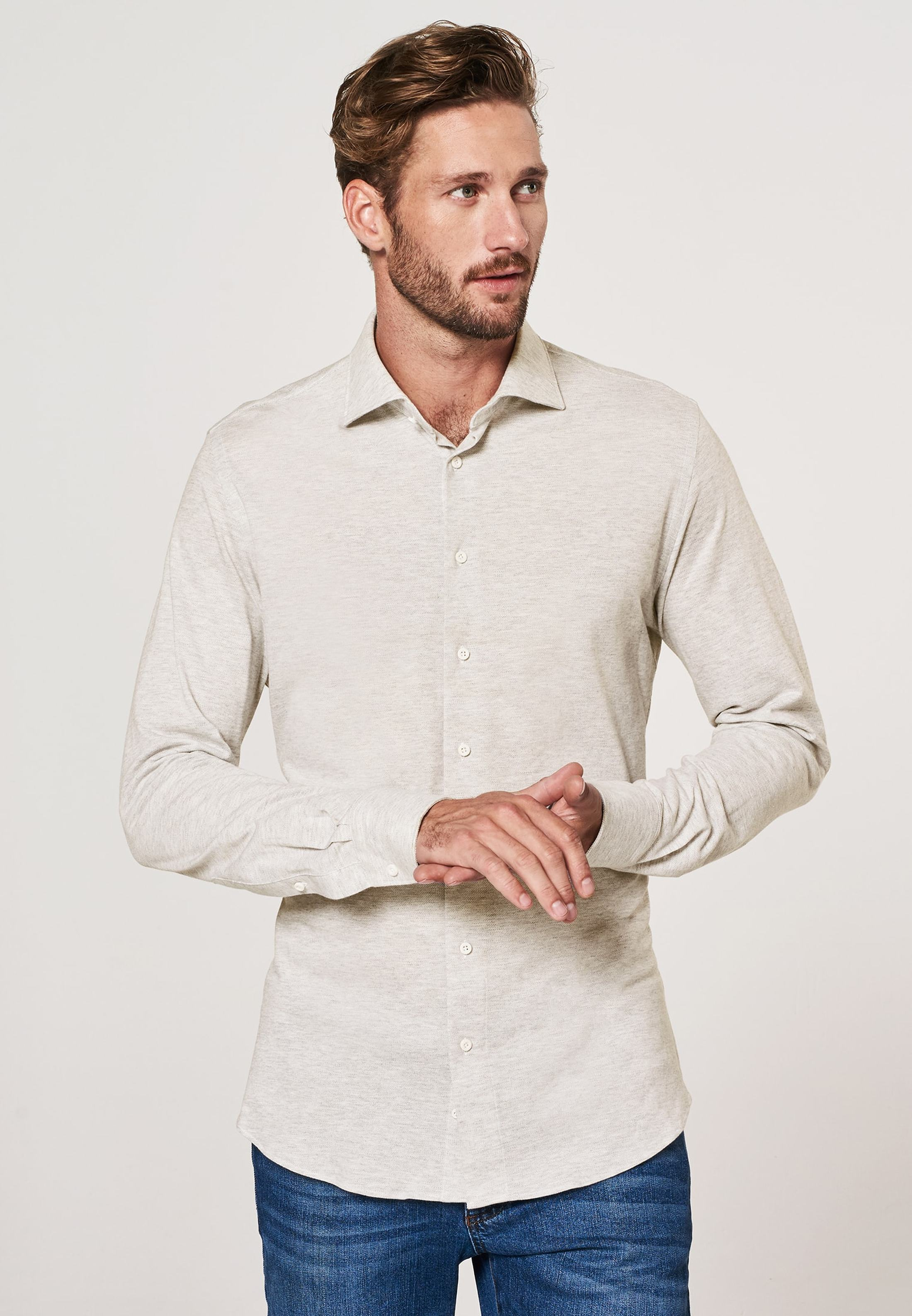 Profuomo Shirt Knitted Beige foto 4