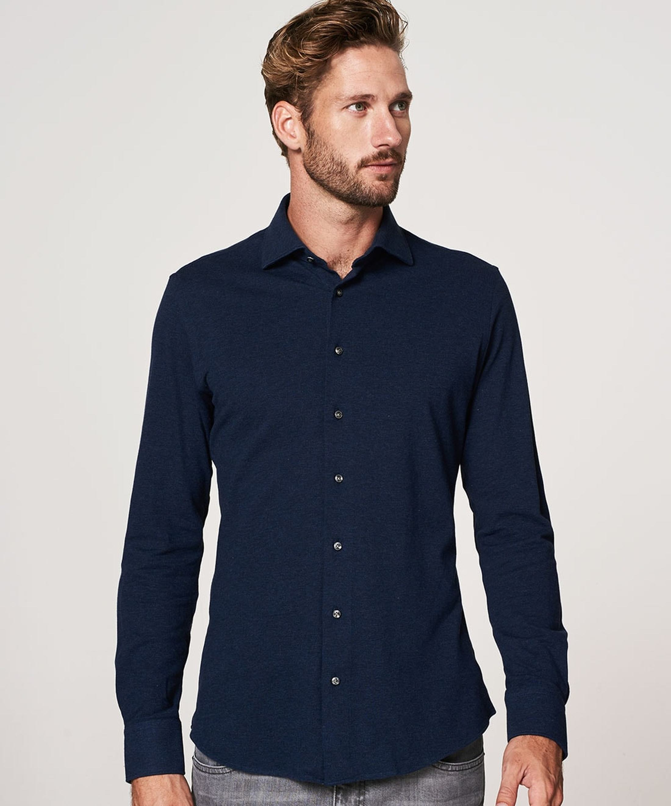 Profuomo Shirt Knitted Dark Blue foto 4
