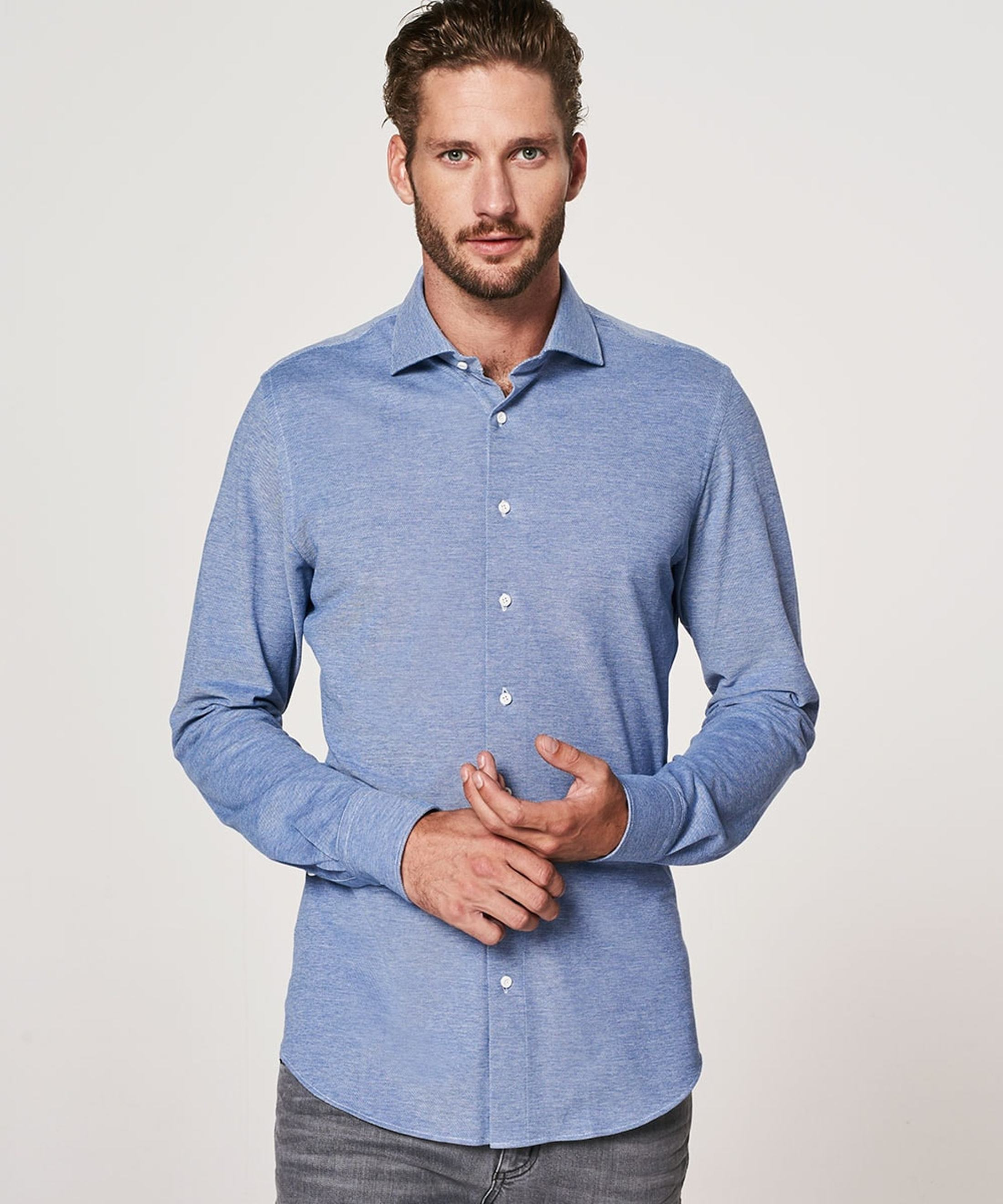 Profuomo Shirt Knitted Mid Blue foto 4