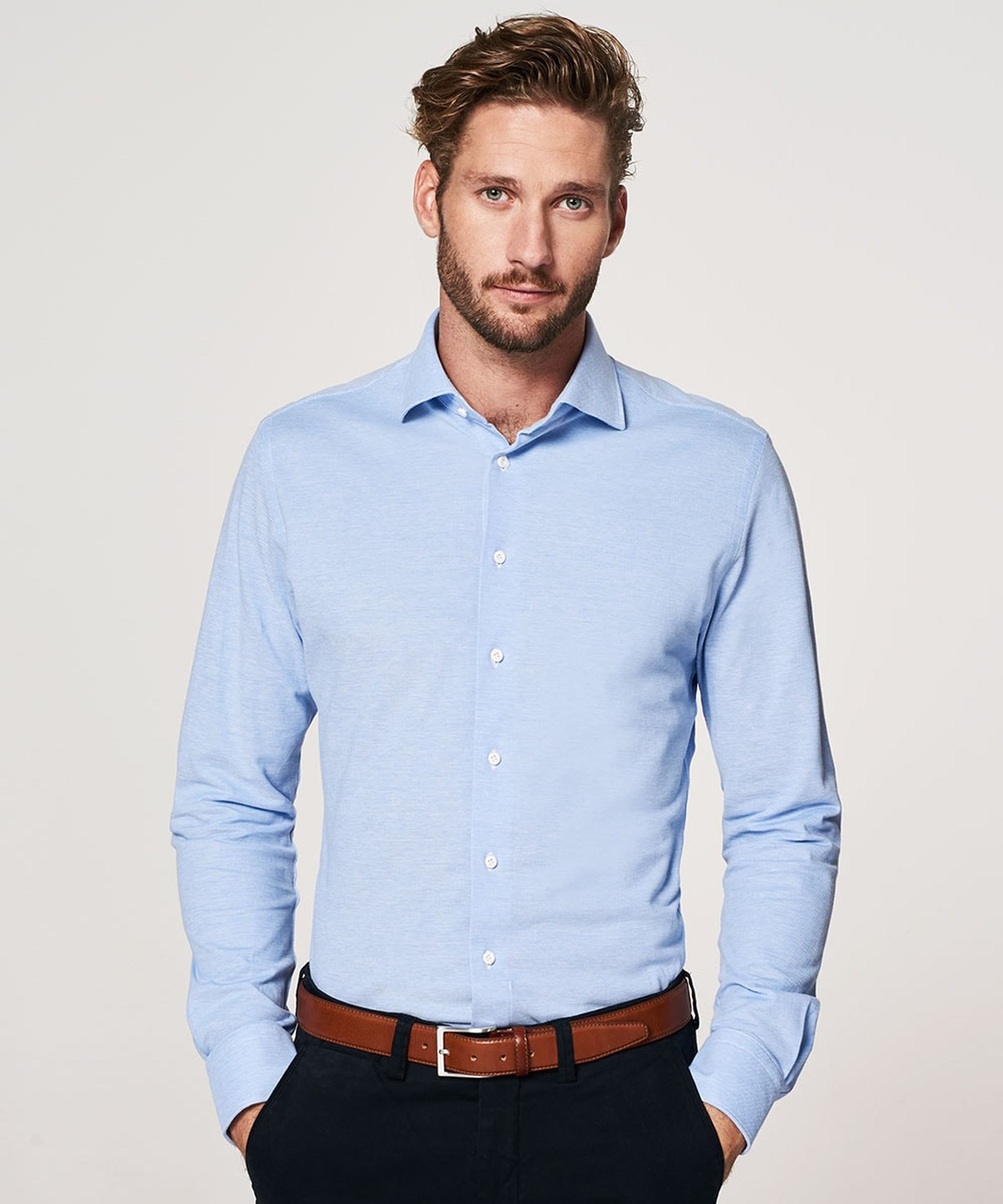 Profuomo Shirt Knitted Slim Fit Blue foto 4