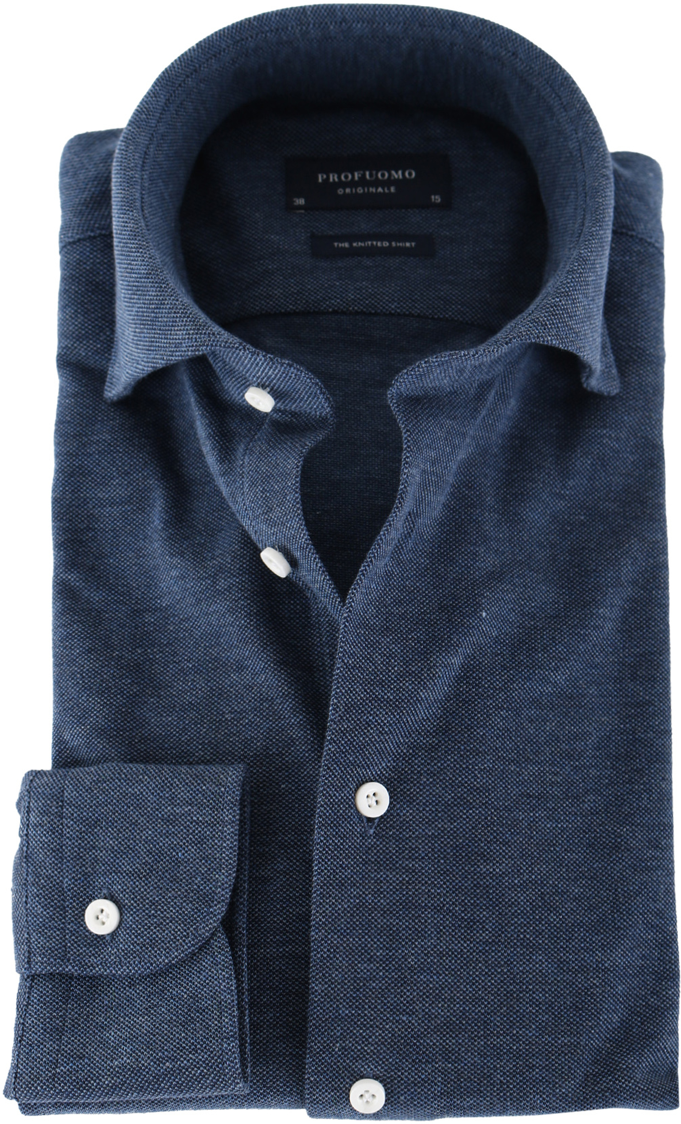 Profuomo Shirt Knitted Slim Fit Indigo Blue foto 0