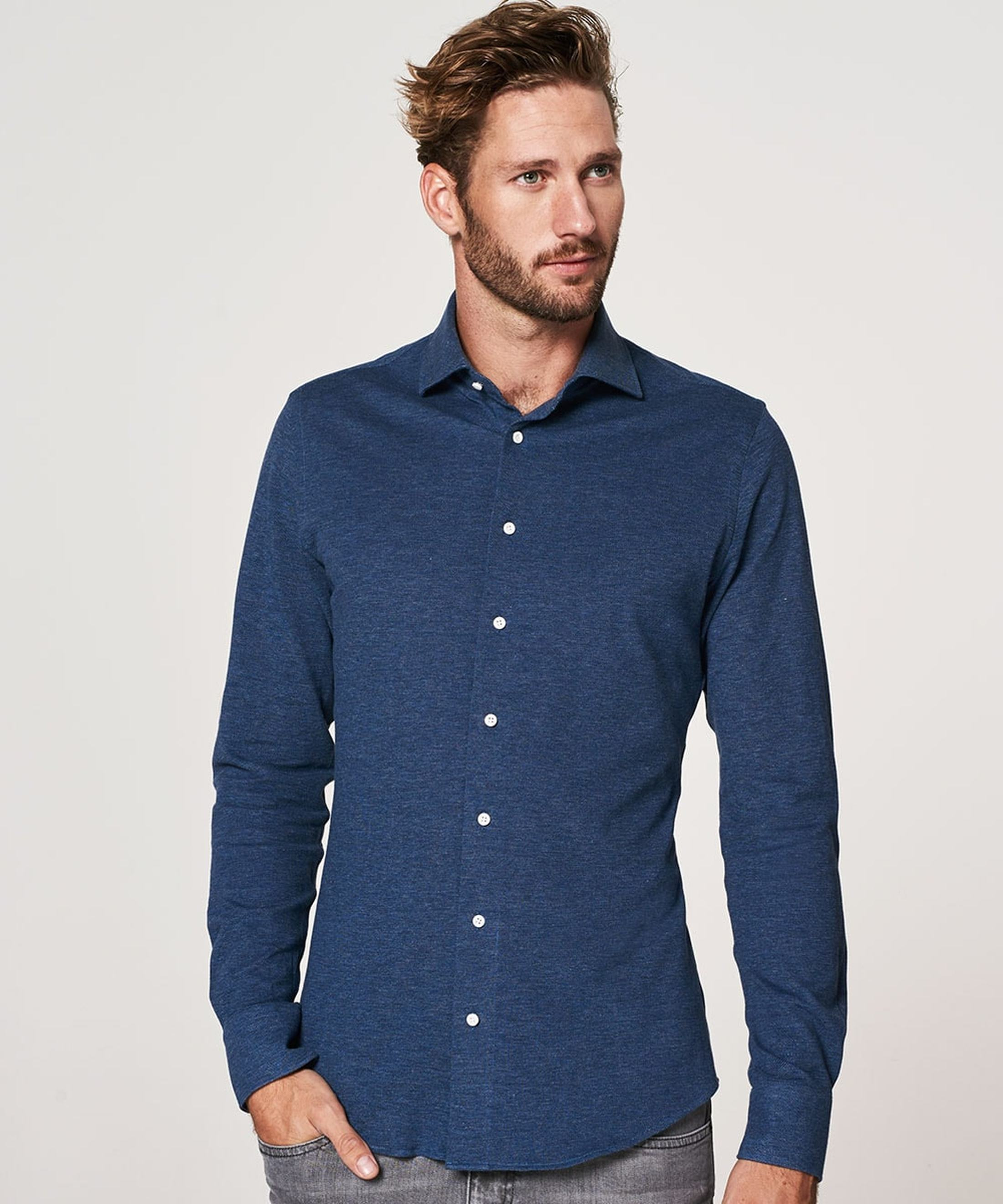 Profuomo Shirt Knitted Slim Fit Indigo Blue foto 4