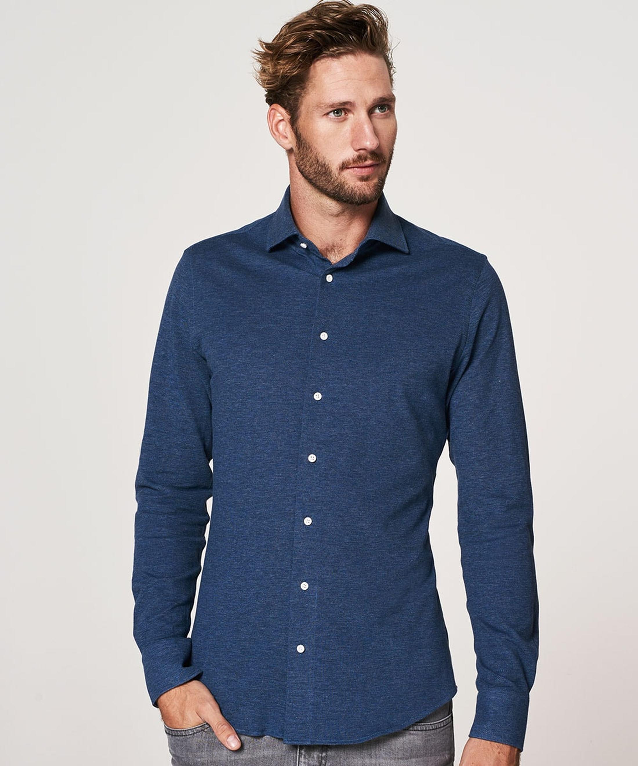 Profuomo Shirt Knitted Slim Fit Indigo Blue