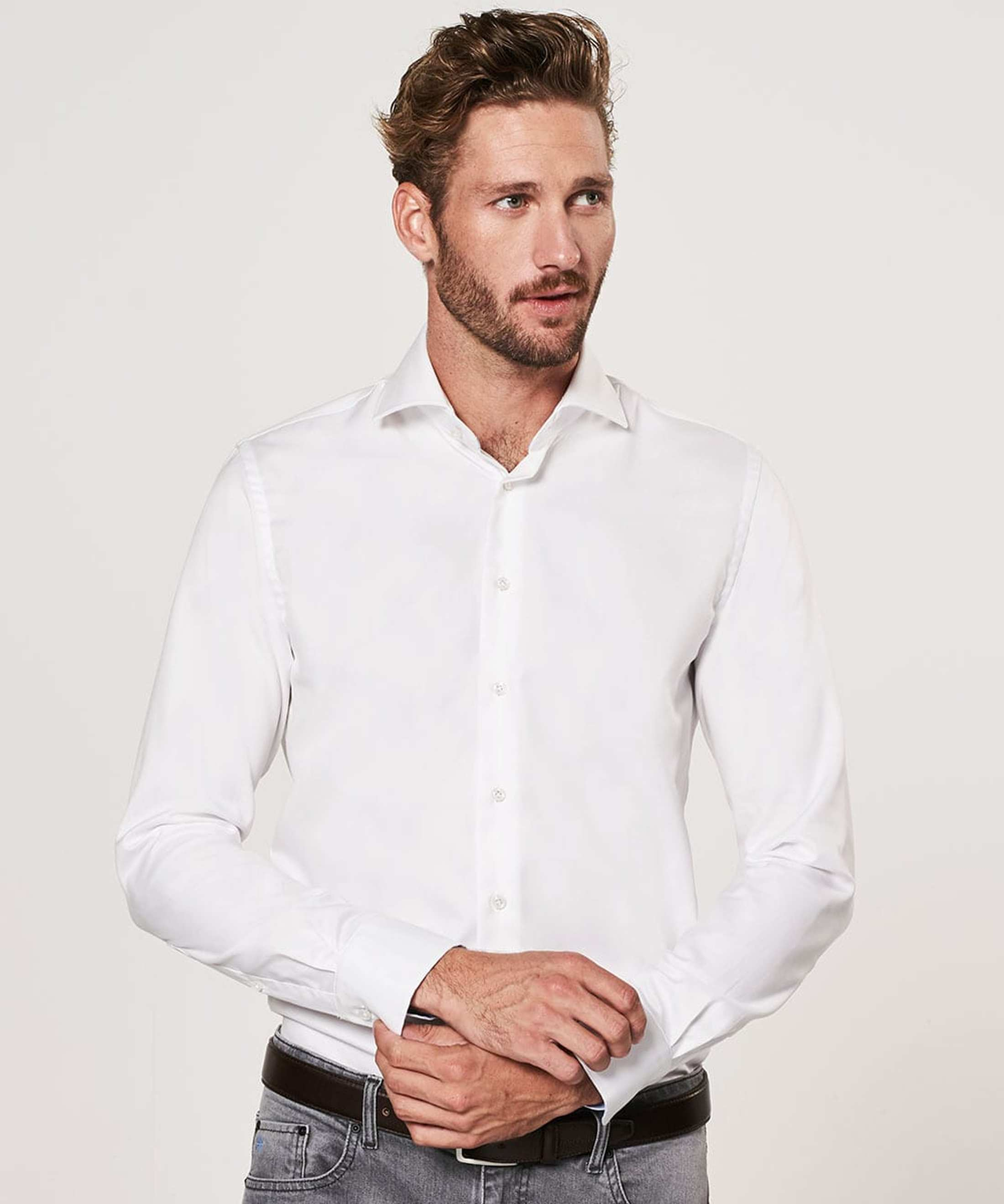 Profuomo Shirt White Blue Accent foto 4