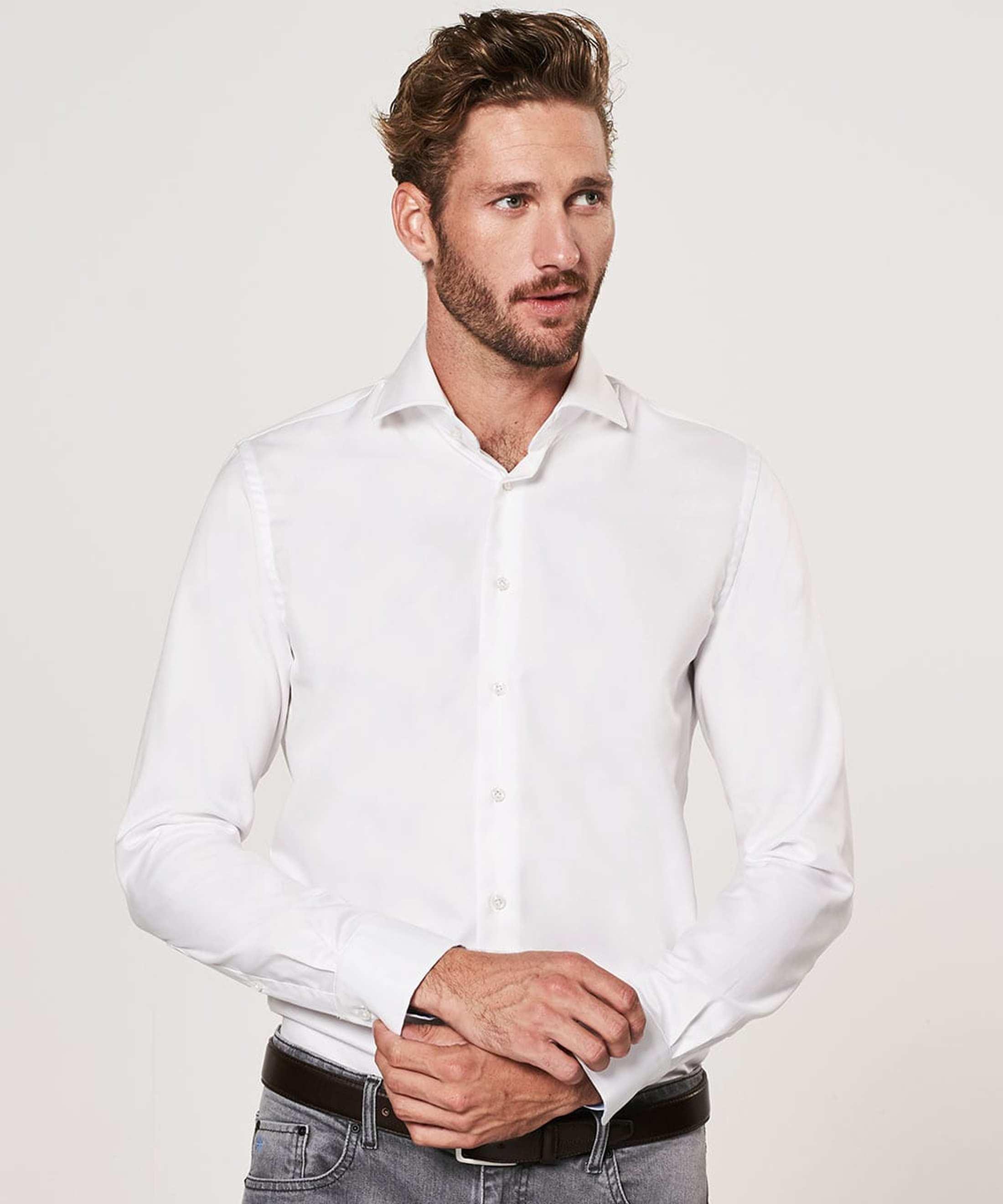 Profuomo Shirt White Blue Accent