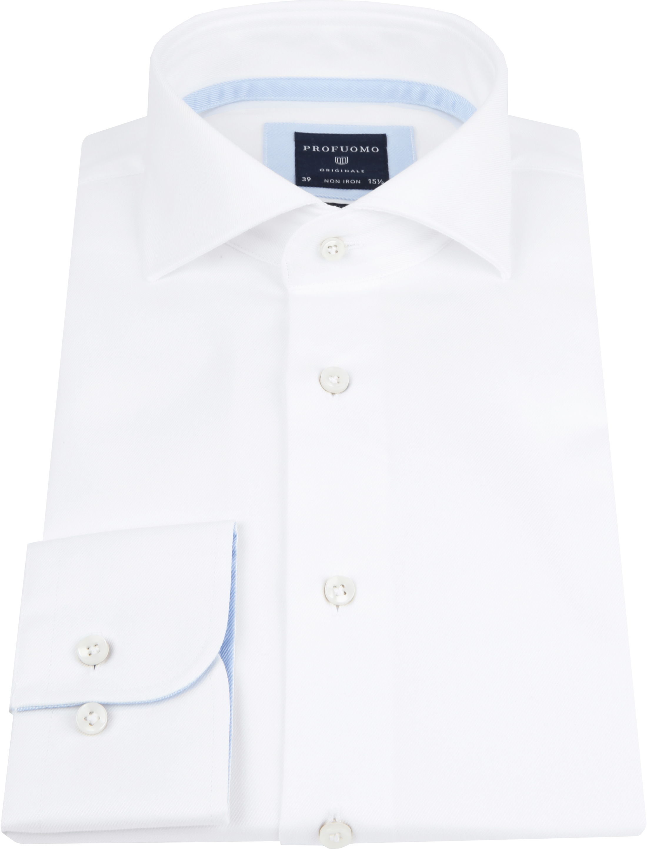 Profuomo Shirt White Blue Accent foto 2
