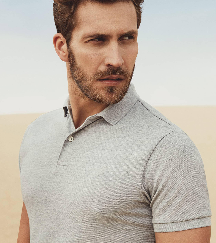 Profuomo Short Sleeve Poloshirt Hellgrau foto 4