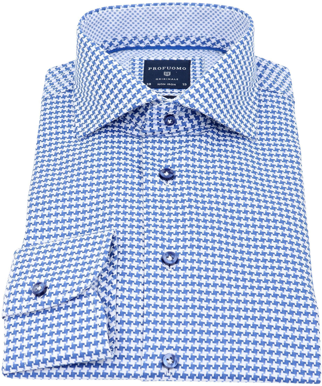 Profuomo Slim Fit Overhemd Blauw Wit foto 1