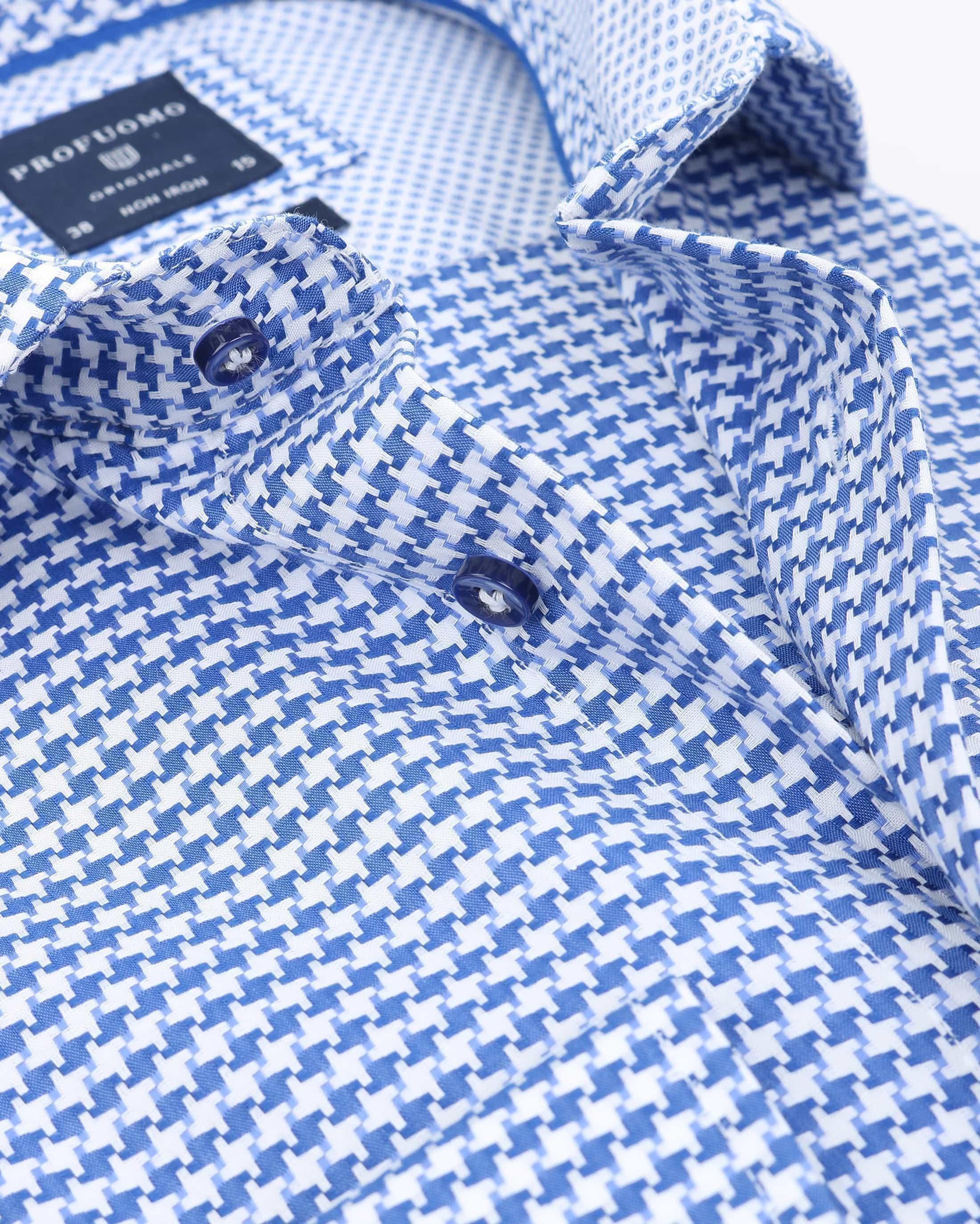 Profuomo Slim Fit Overhemd Blauw Wit foto 2