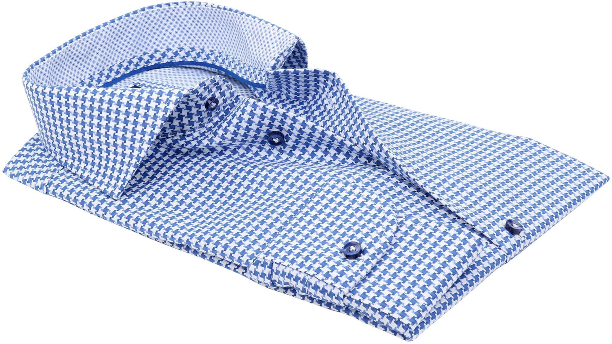 Profuomo Slim Fit Overhemd Blauw Wit foto 3