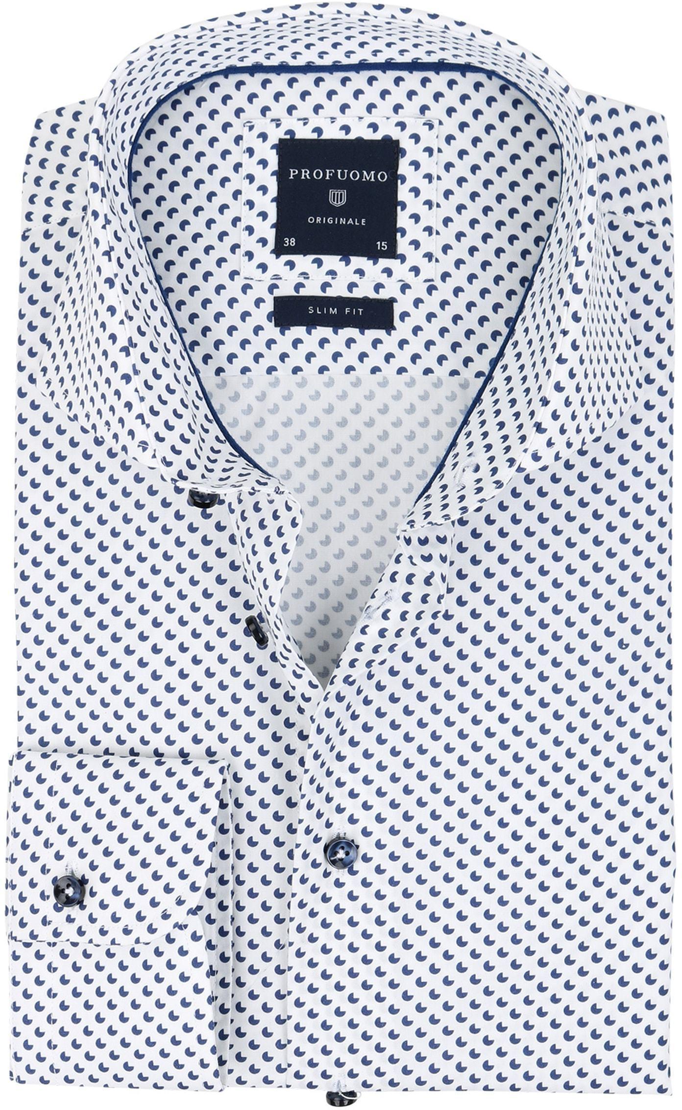 Profuomo Slim Fit Overhemd Wit met patroon foto 0
