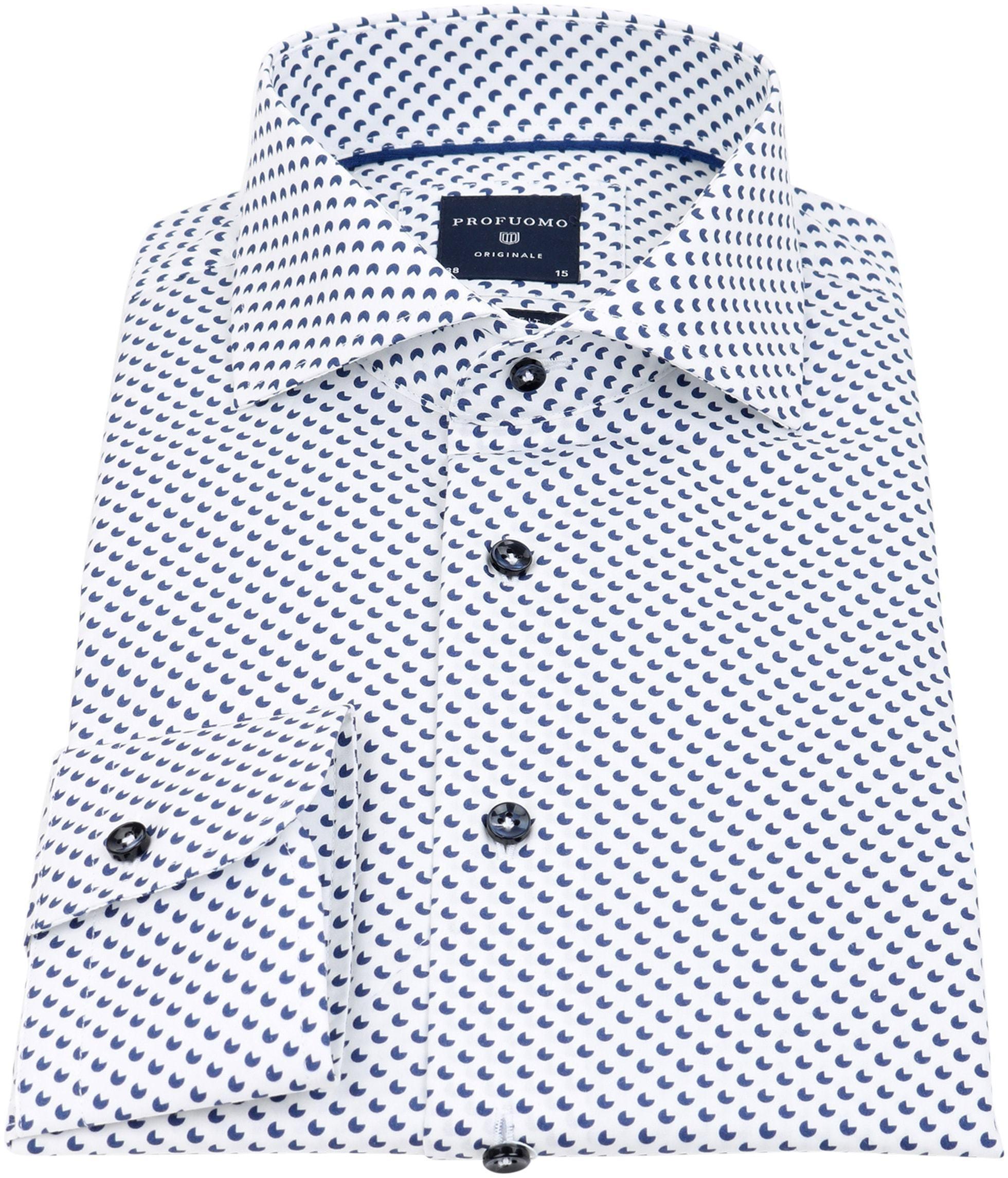 Profuomo Slim Fit Overhemd Wit met patroon foto 1