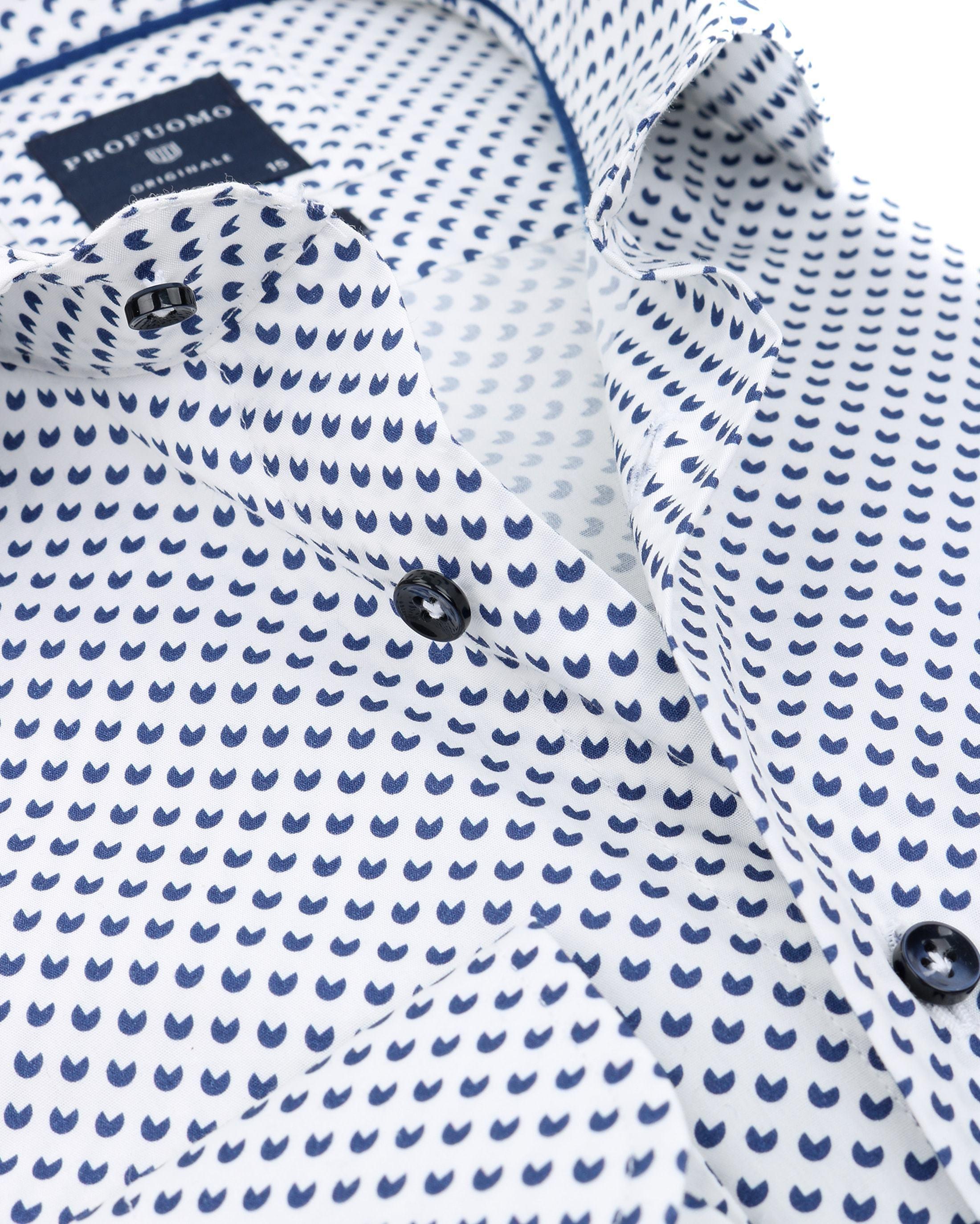Profuomo Slim Fit Overhemd Wit met patroon foto 2