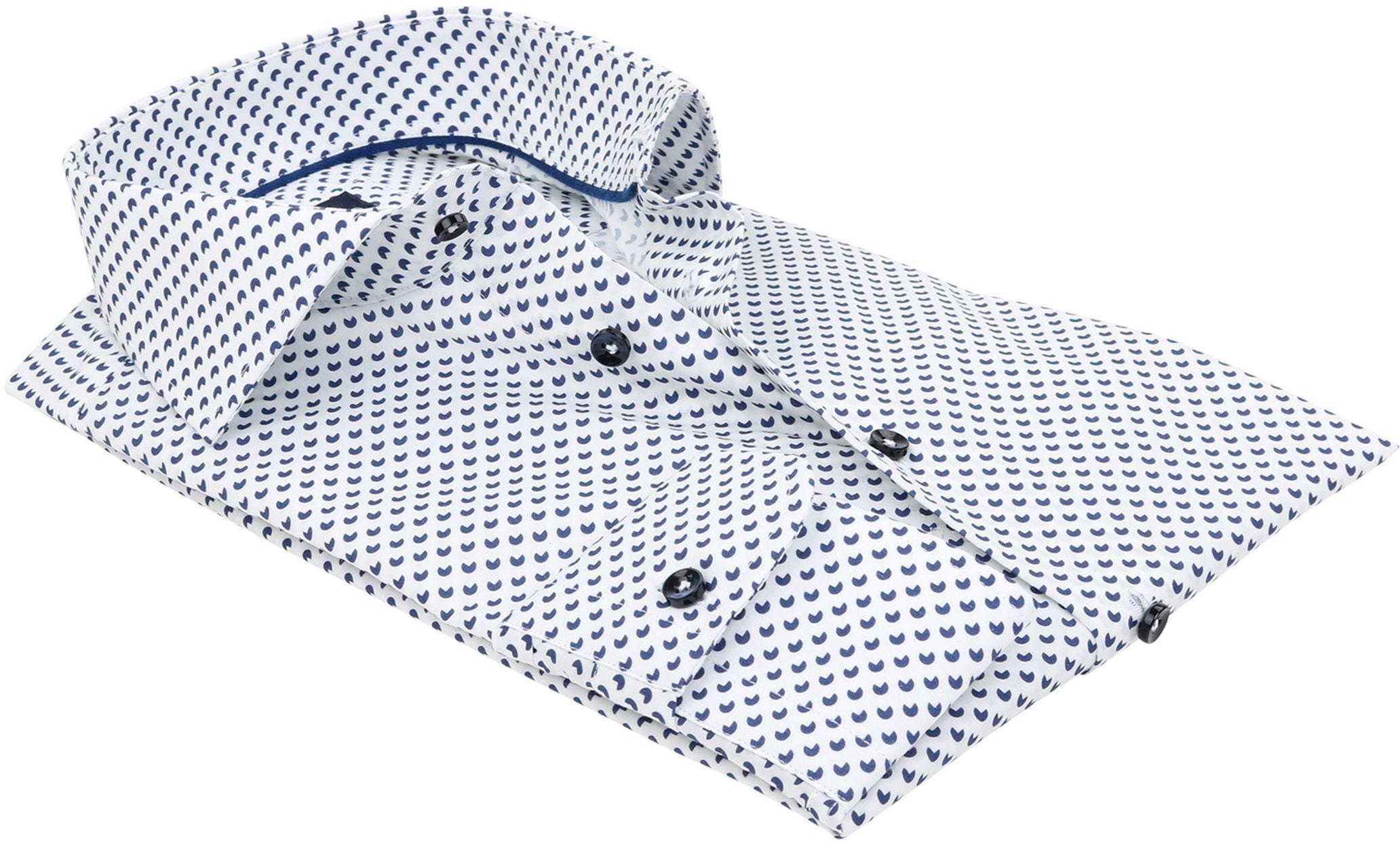 Profuomo Slim Fit Overhemd Wit met patroon foto 3