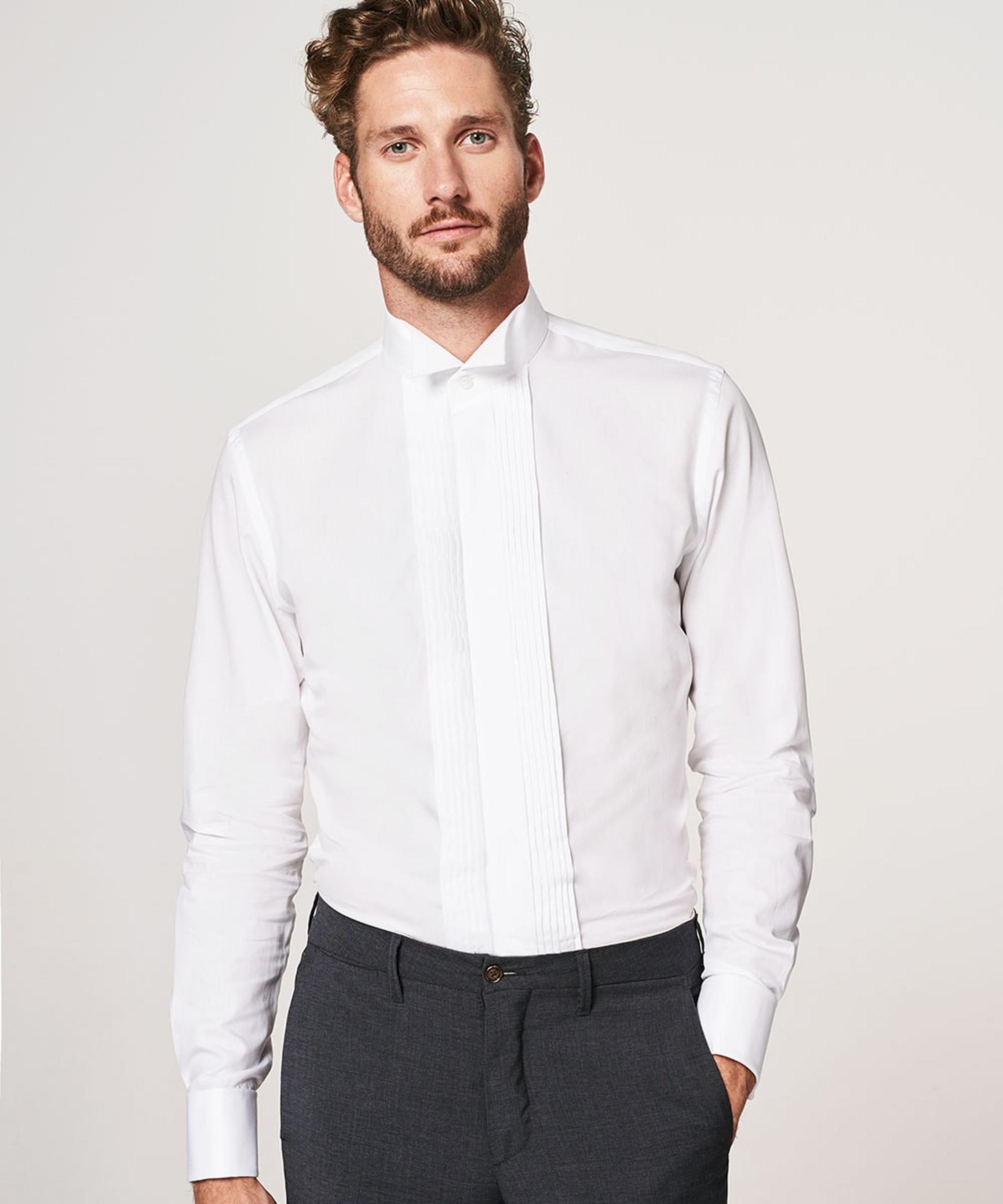 Profuomo Smoking Hemd Plissiert Slim Fit Weiß foto 4