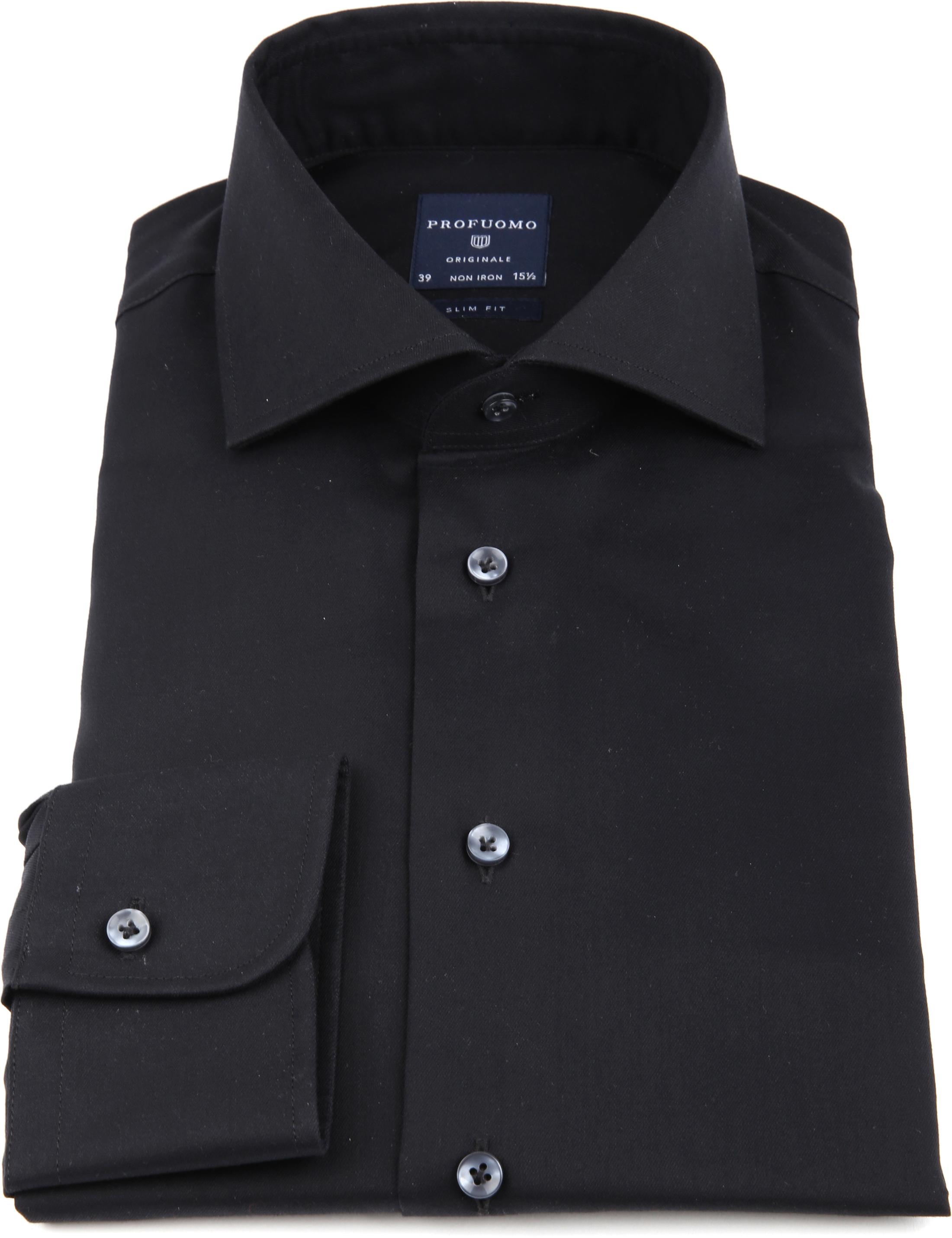 Profuomo Strijkvrij Overhemd Zwart foto 2
