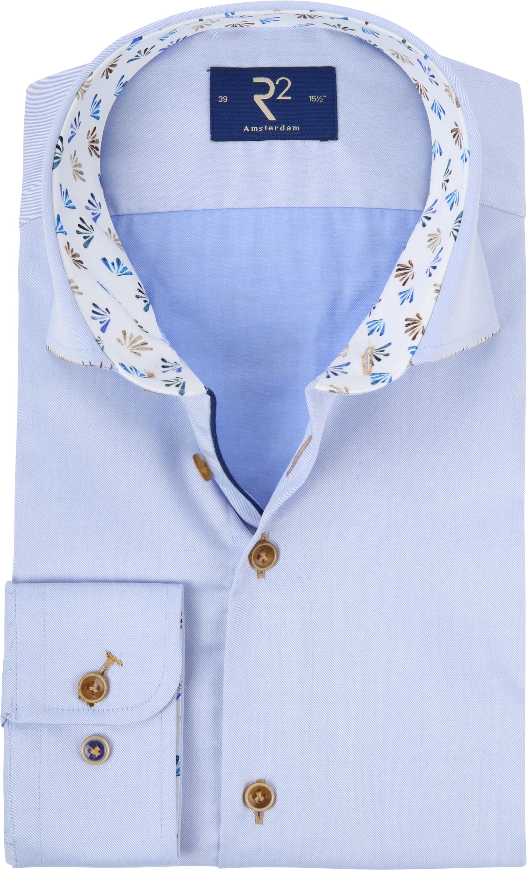 R2 Overhemd Blauw Fijne Twill foto 0