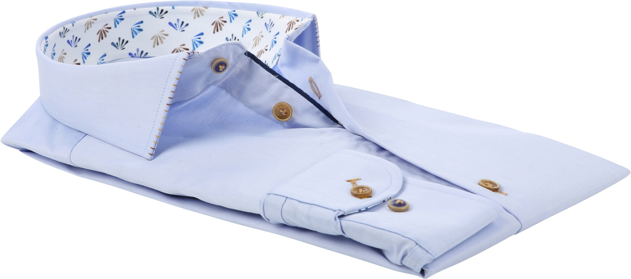 R2 Overhemd Blauw Fijne Twill foto 3