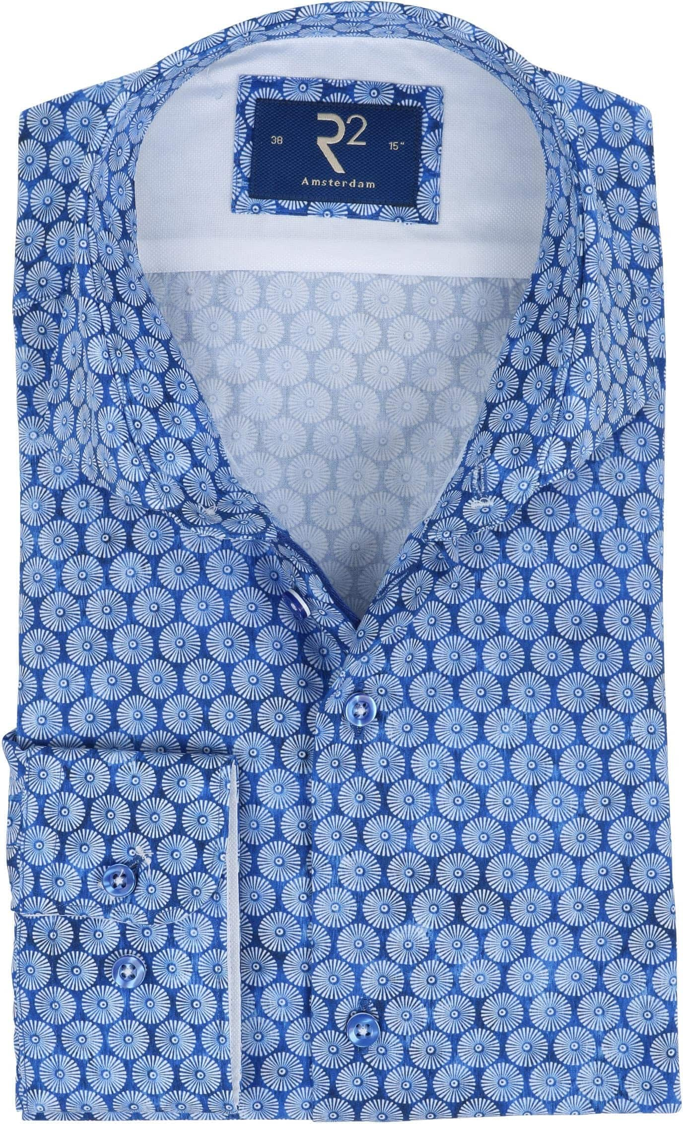 R2 Overhemd Blauw Parasols foto 0