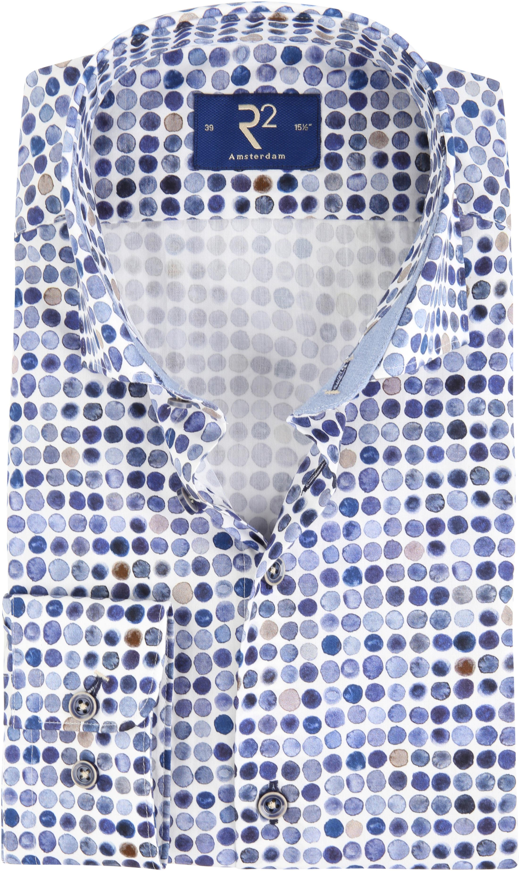 R2 Overhemd Blauw Stippen foto 0