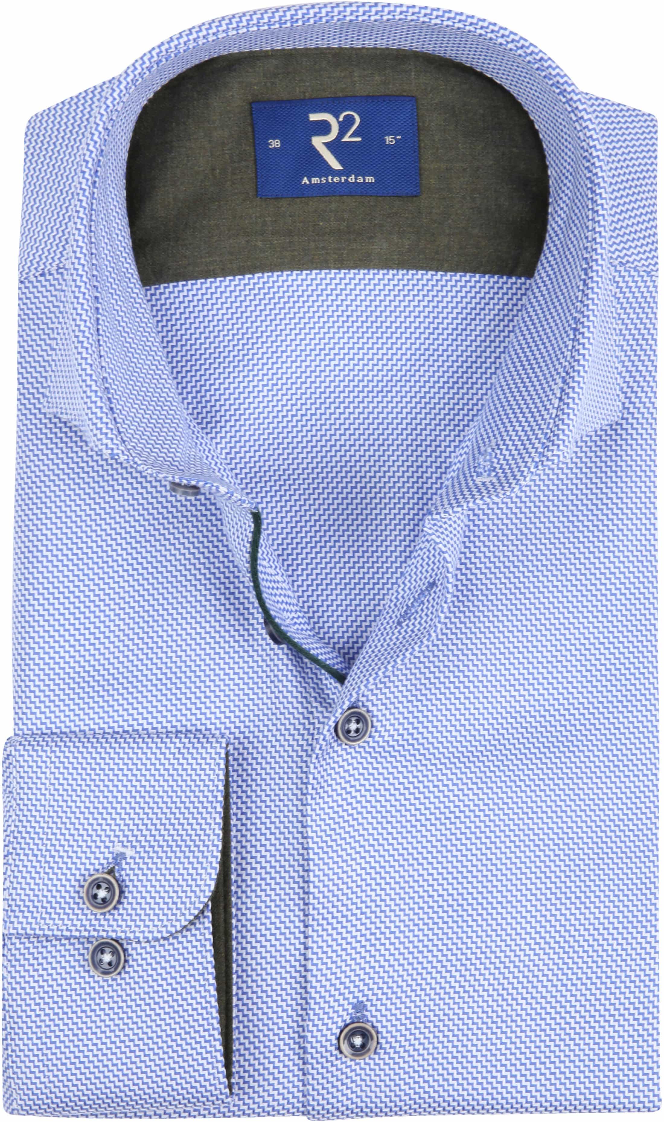 R2 Overhemd Blauw Wit Patroon foto 0