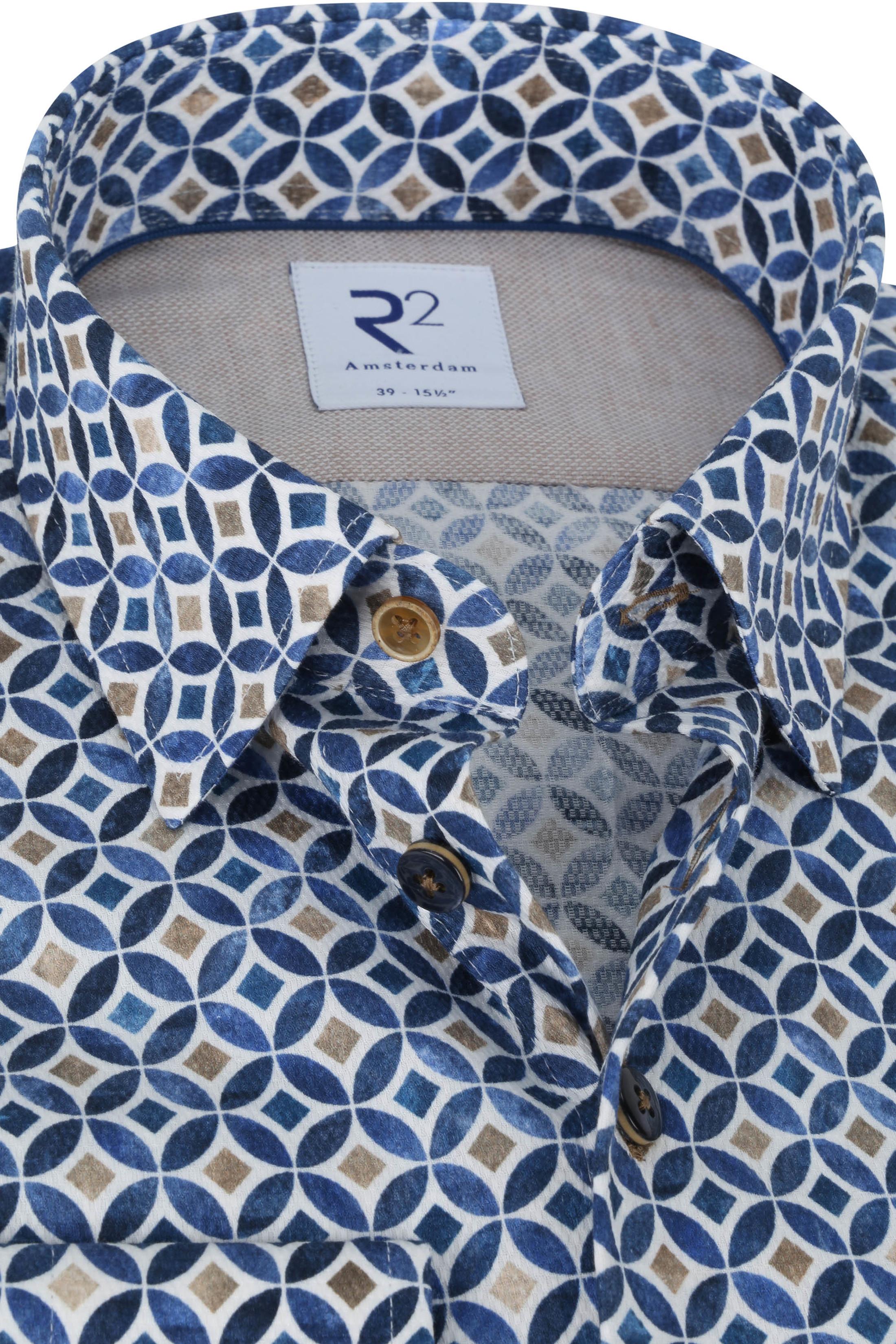 R2 Overhemd Cirkel Patroon Blauw