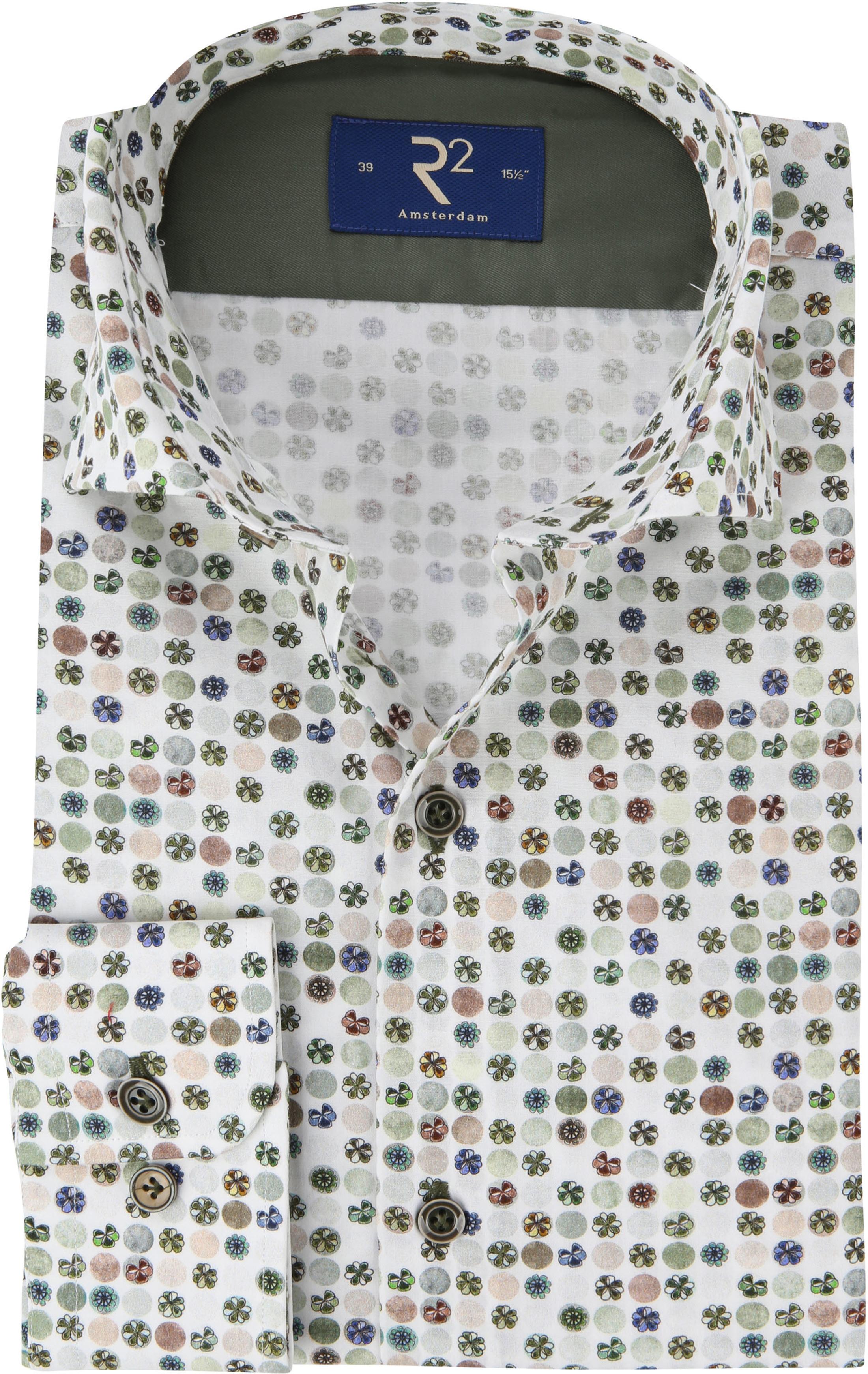 R2 Overhemd Gekleurde Bloemen Groen foto 0