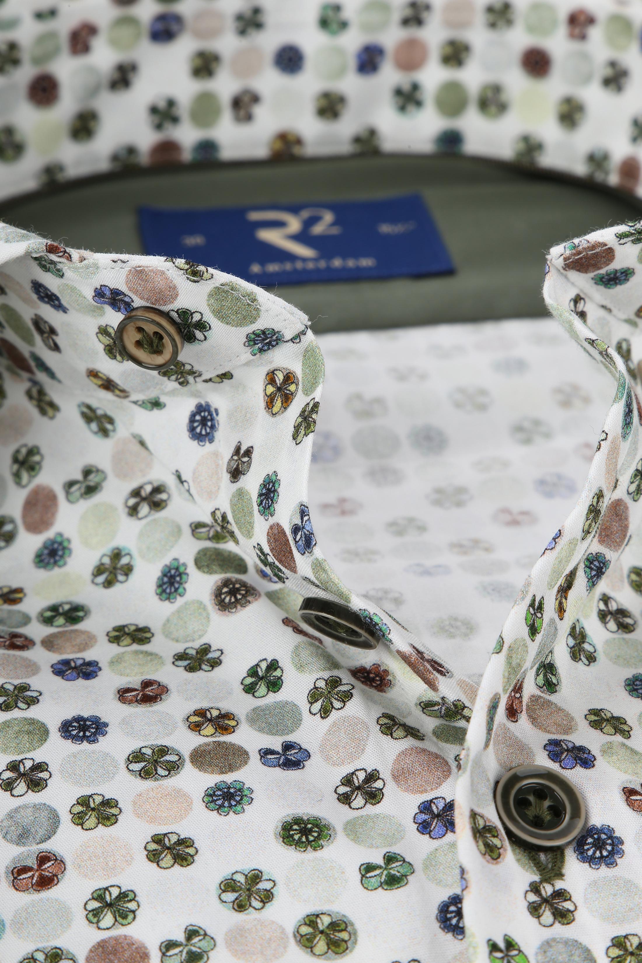R2 Overhemd Gekleurde Bloemen Groen foto 1