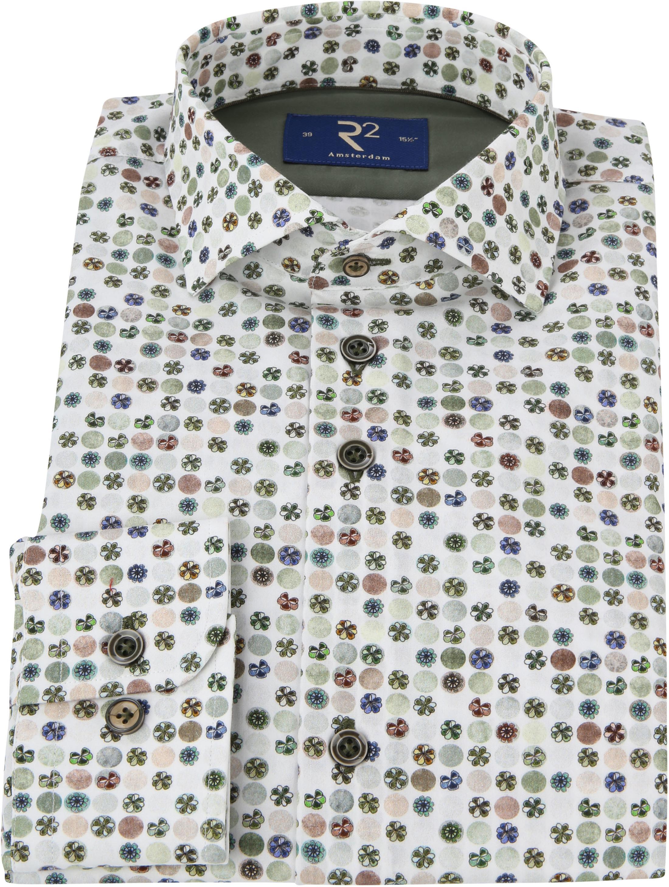 R2 Overhemd Gekleurde Bloemen Groen foto 2