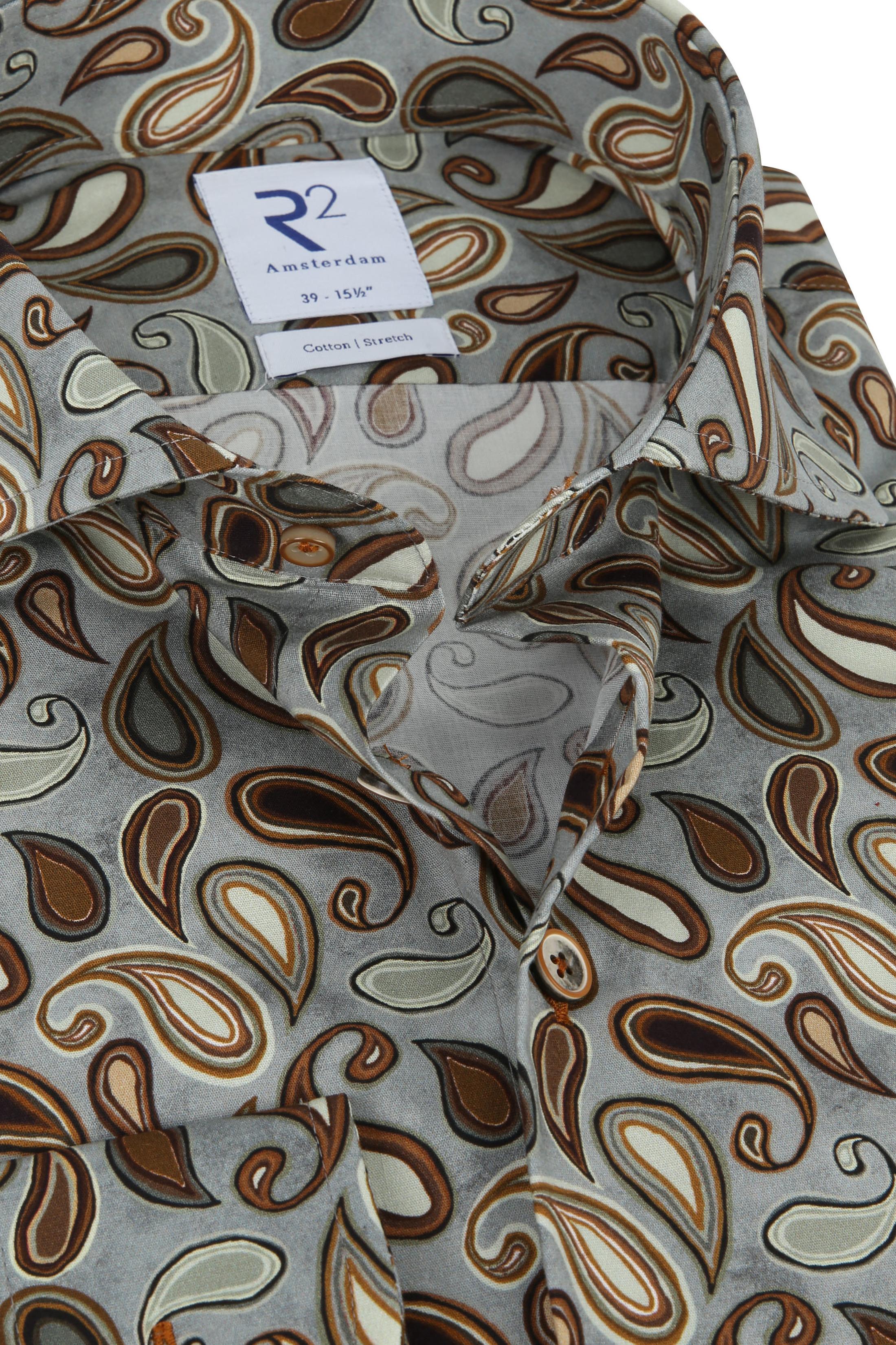 R2 Overhemd Grijs Paisly - Multicolour maat 43