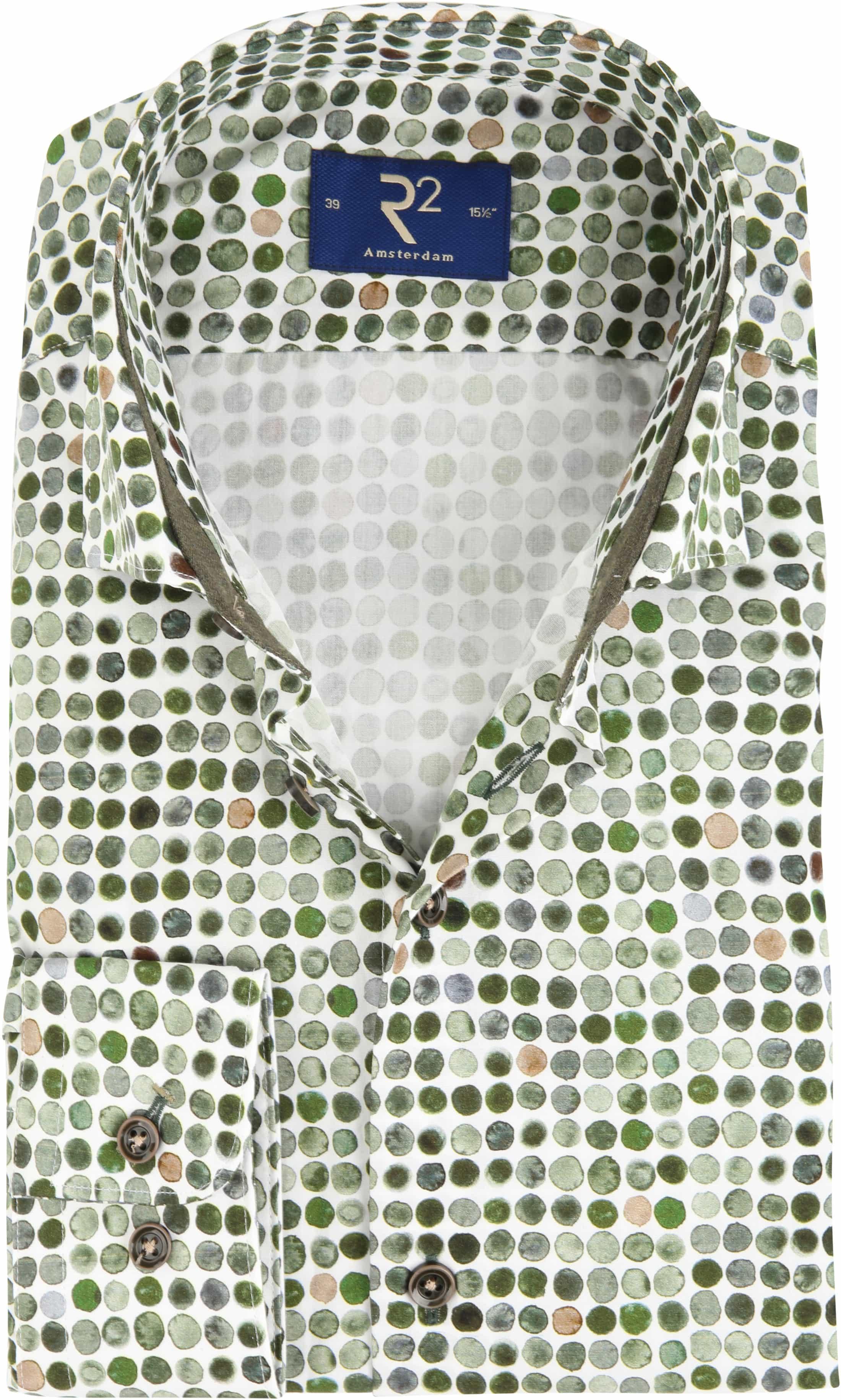 R2 Overhemd Groen Stippen foto 0