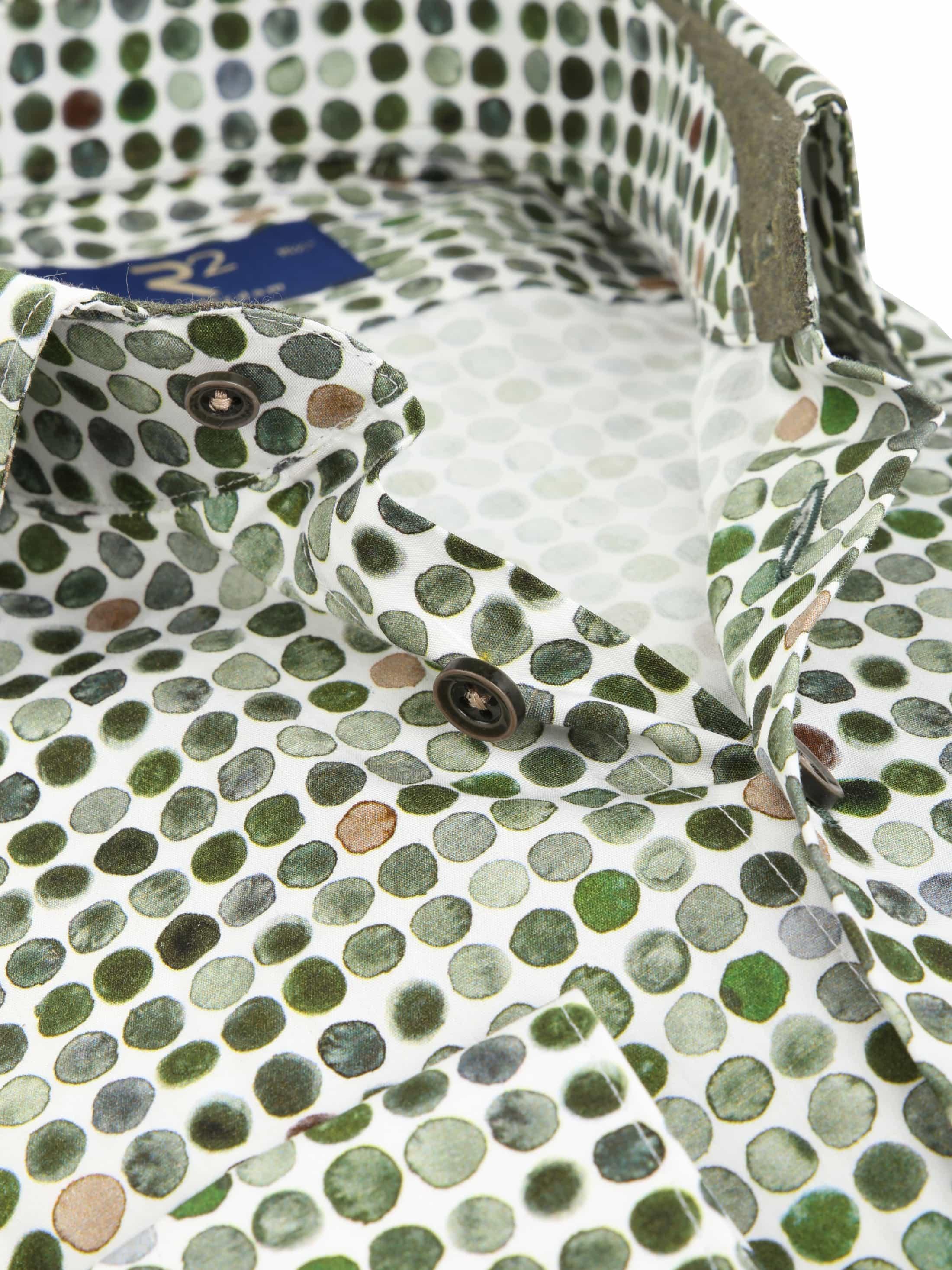 R2 Overhemd Groen Stippen foto 1