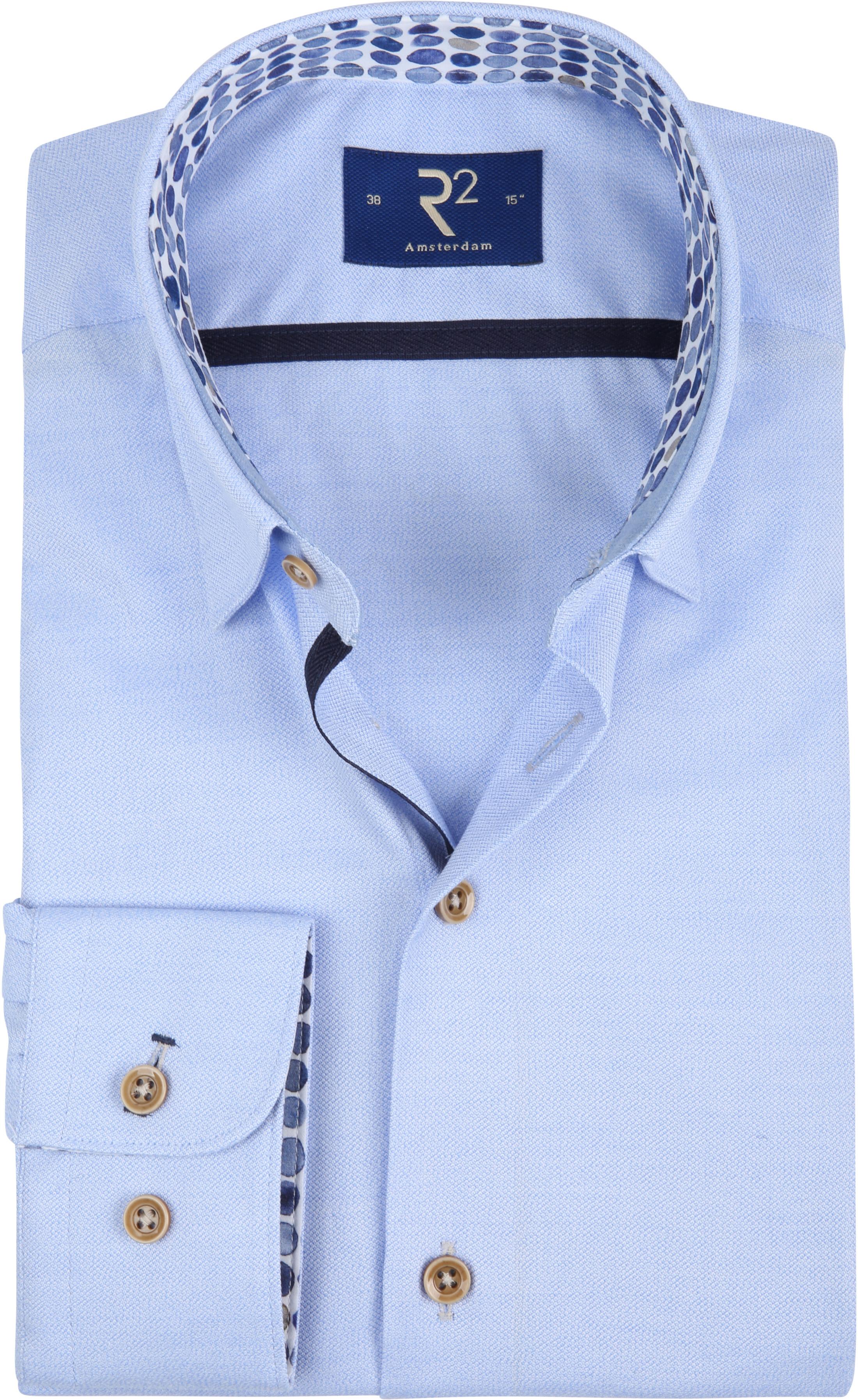 R2 Overhemd Mouline Lichtblauw foto 0