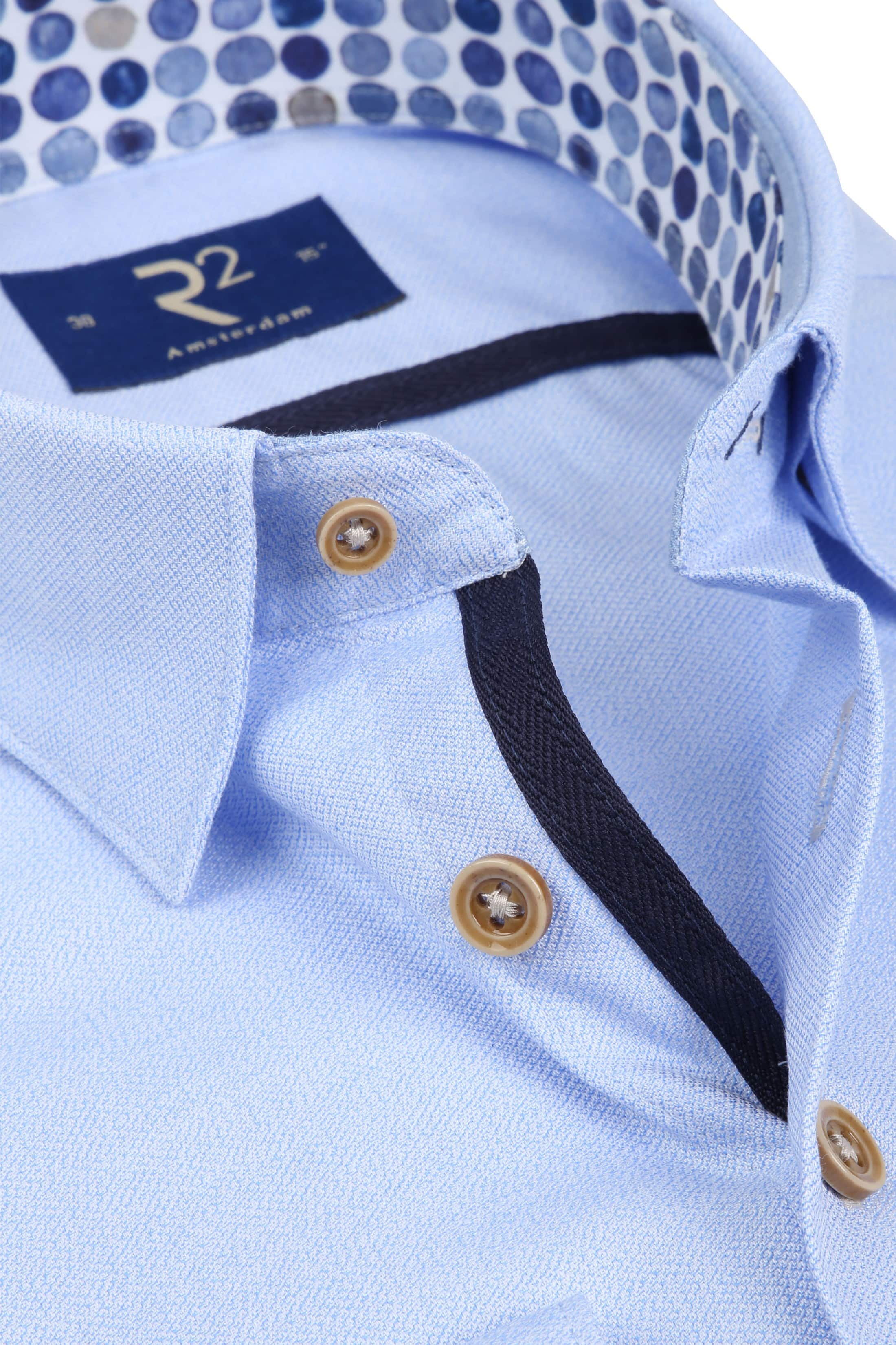 R2 Overhemd Mouline Lichtblauw foto 1