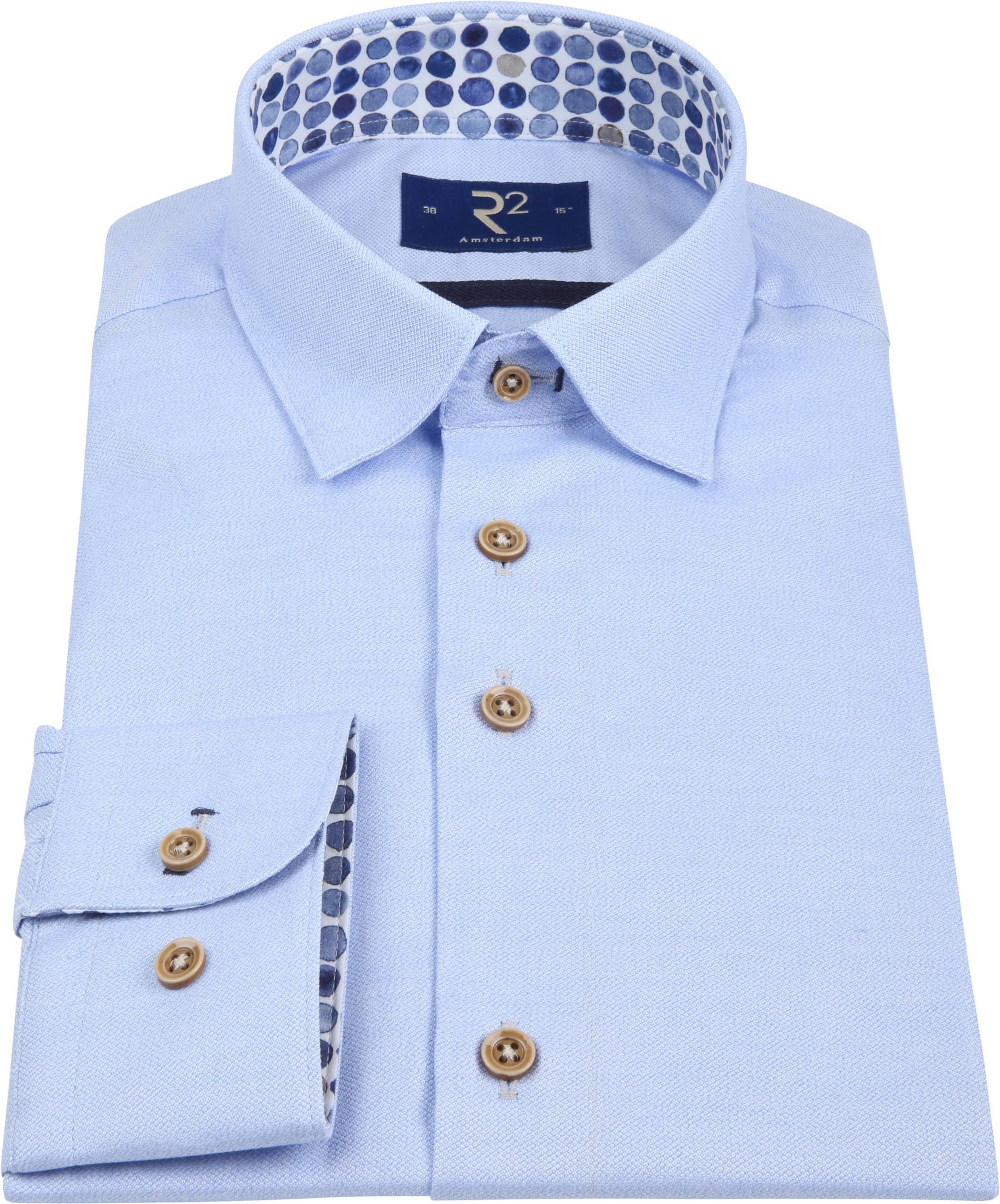 R2 Overhemd Mouline Lichtblauw foto 2