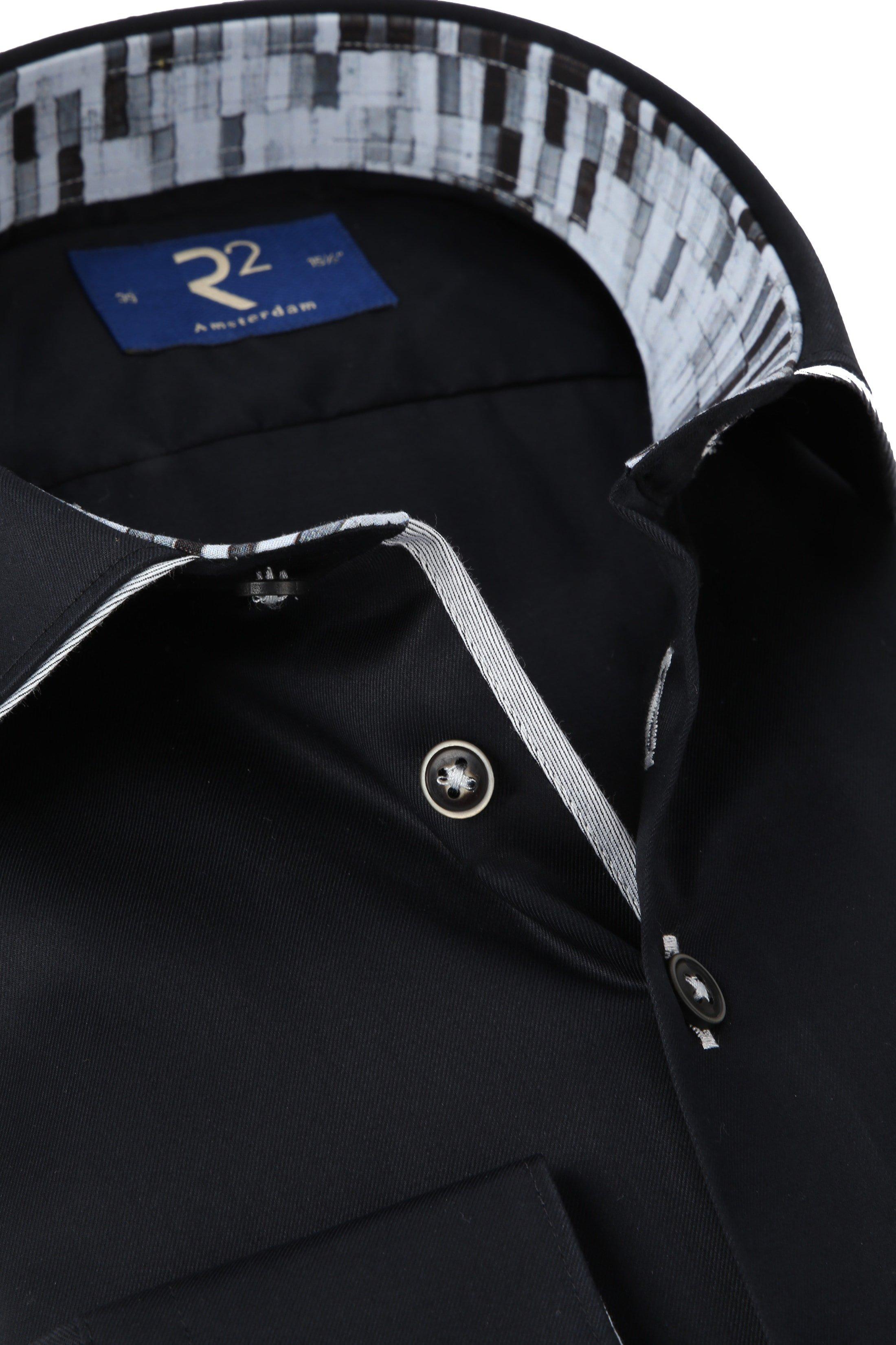 R2 Overhemd Twill Zwart foto 1