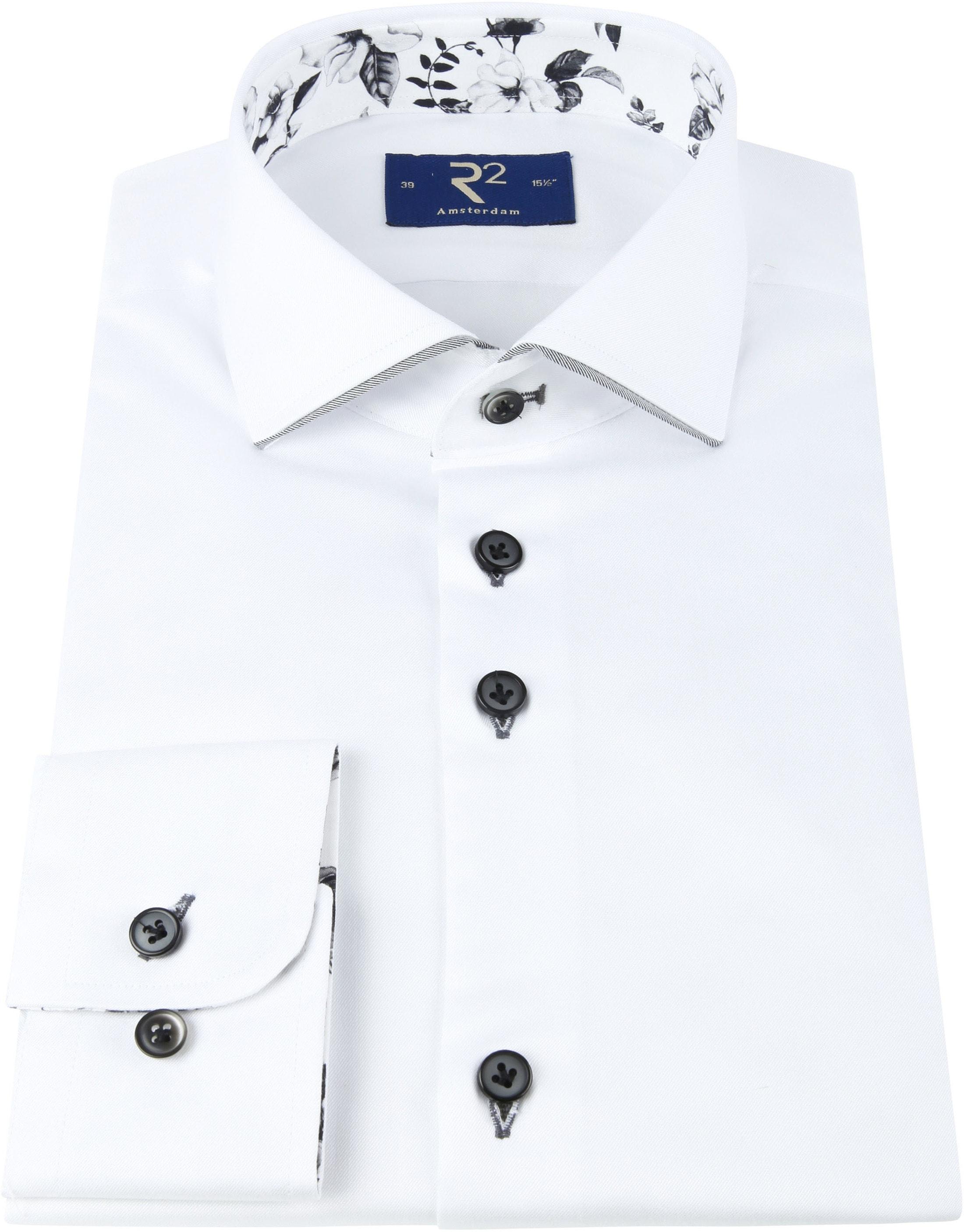 R2 Overhemd Uni Bloem Wit foto 2