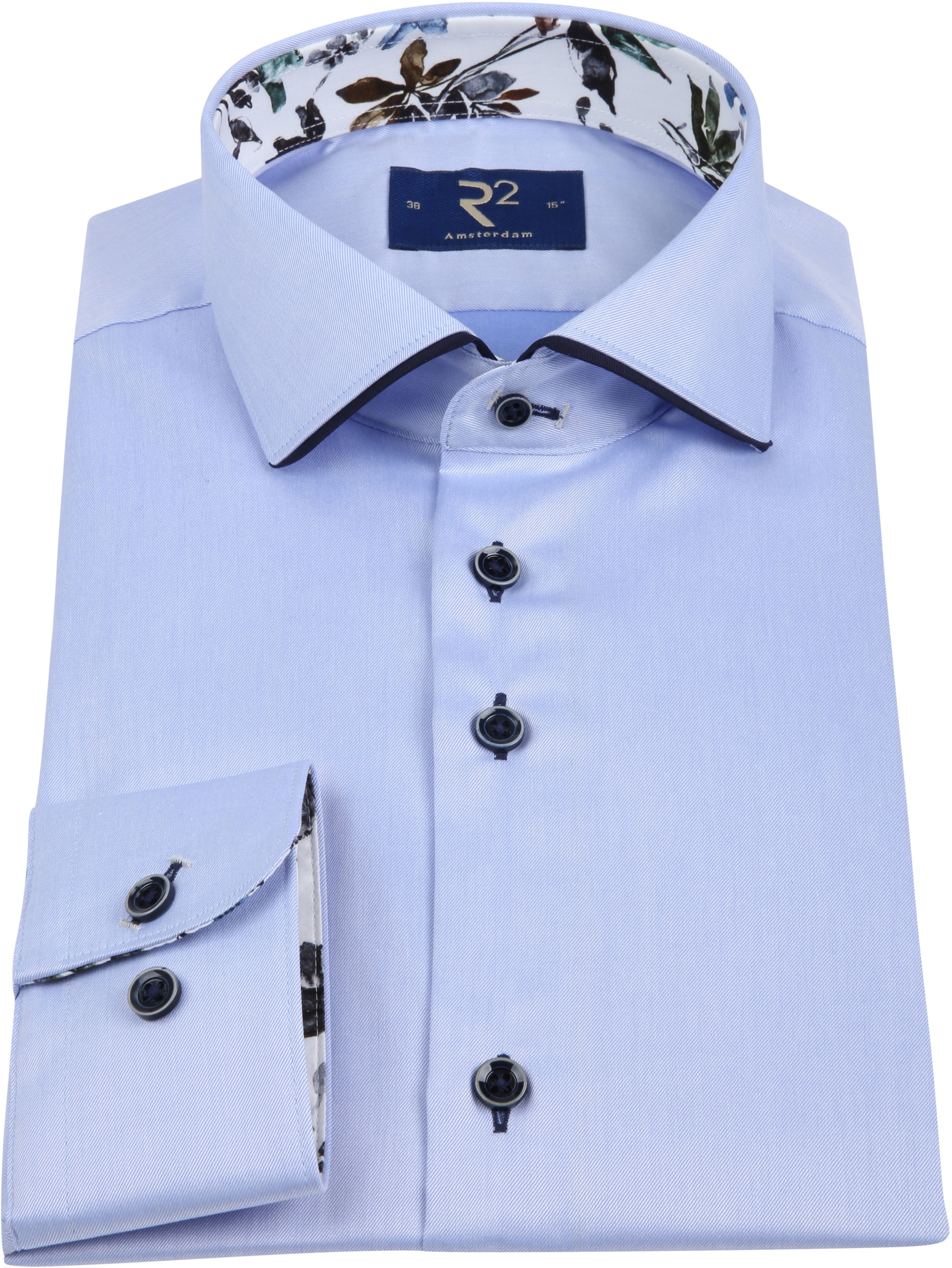 R2 Overhemd Uni Lichtblauw foto 2