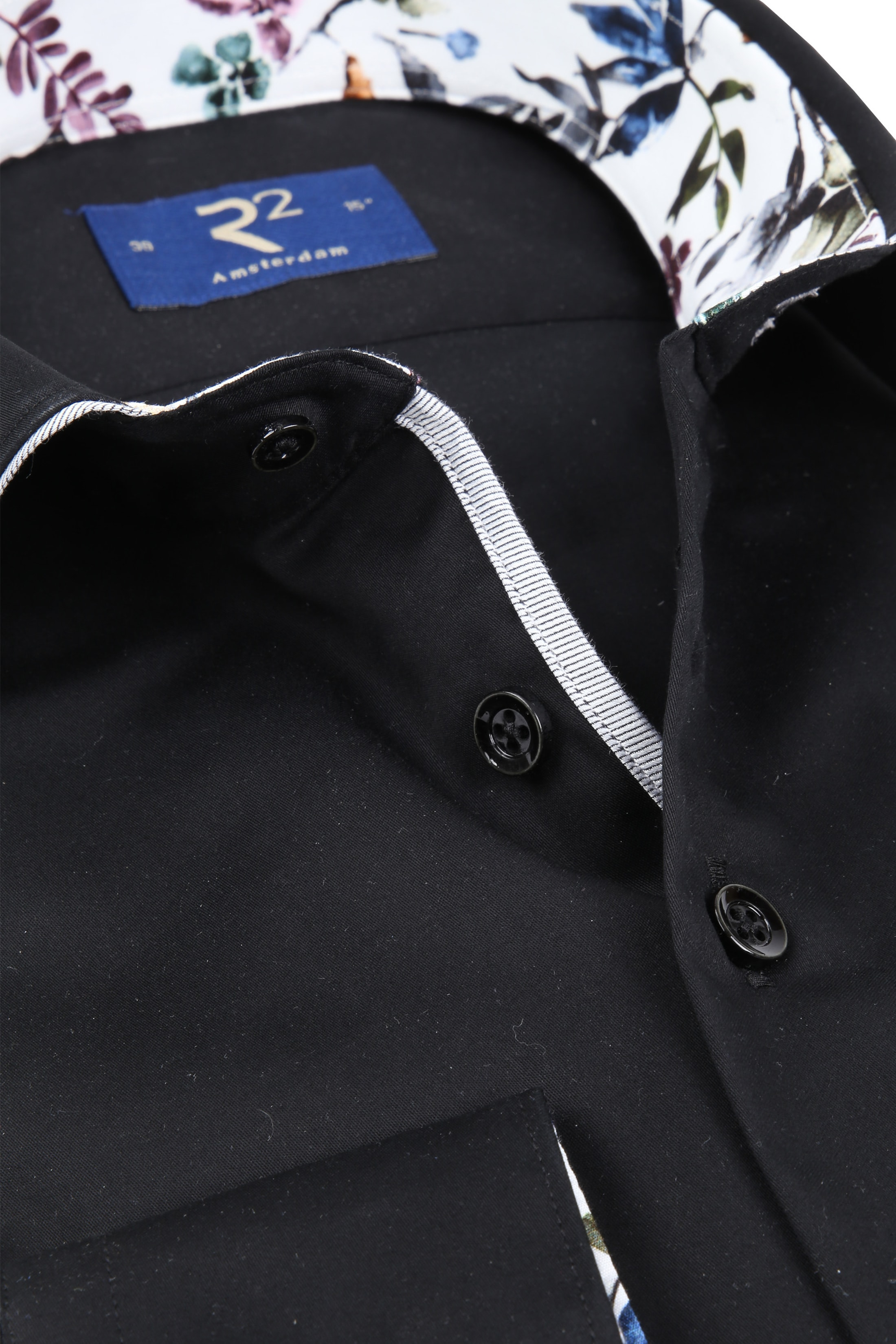 R2 Overhemd Uni Zwart foto 1
