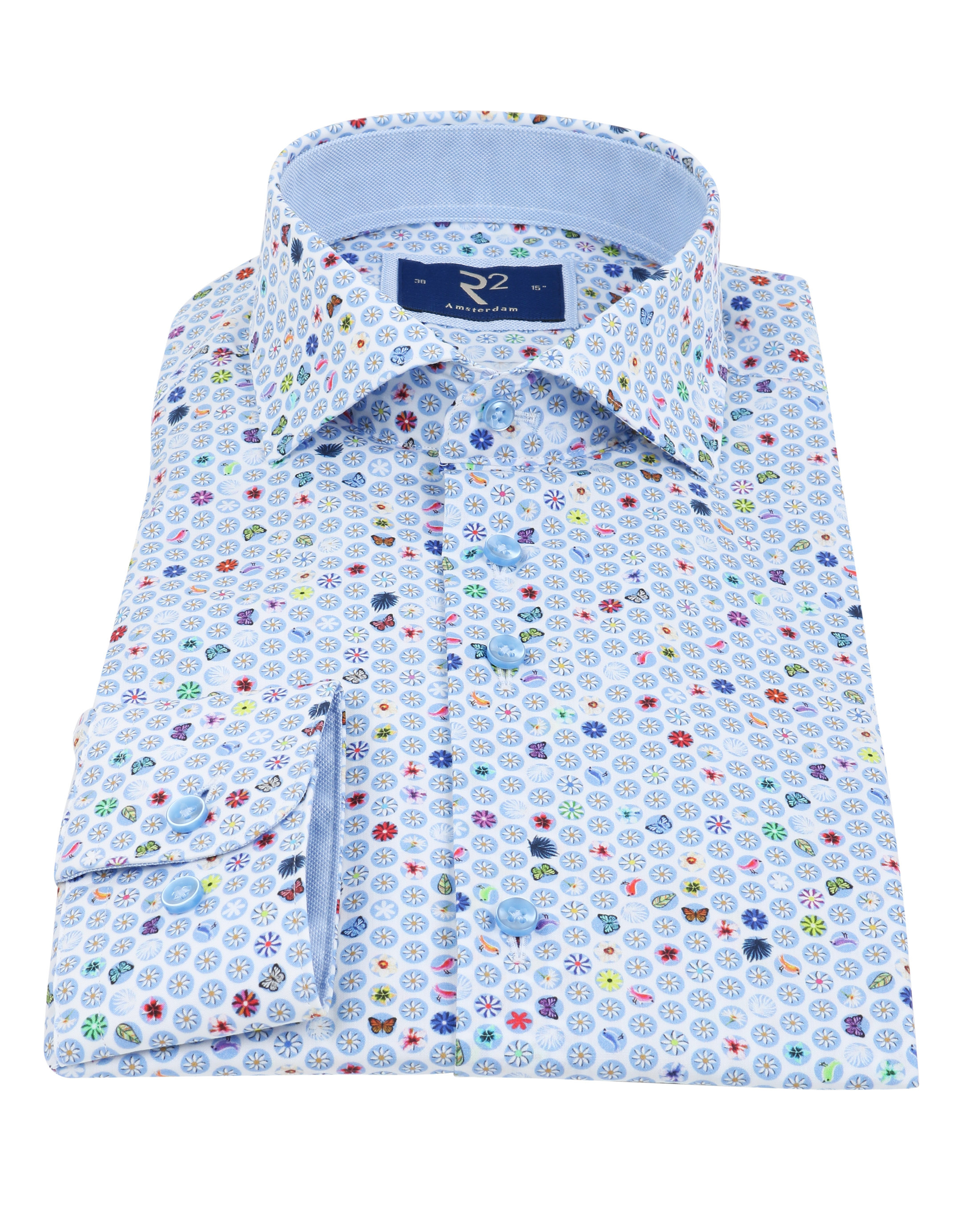 R2 Overhemd Zomers Blauw foto 2