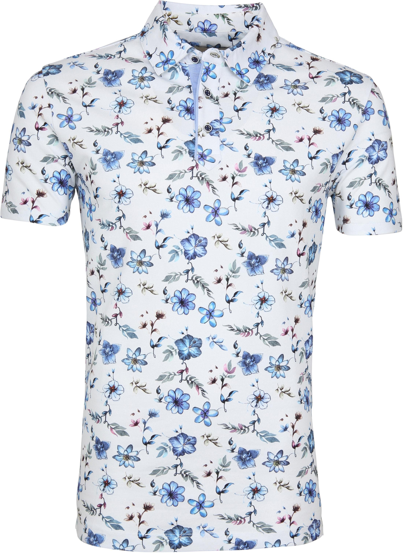 R2 Poloshirt Piquet Blumen Blau foto 0